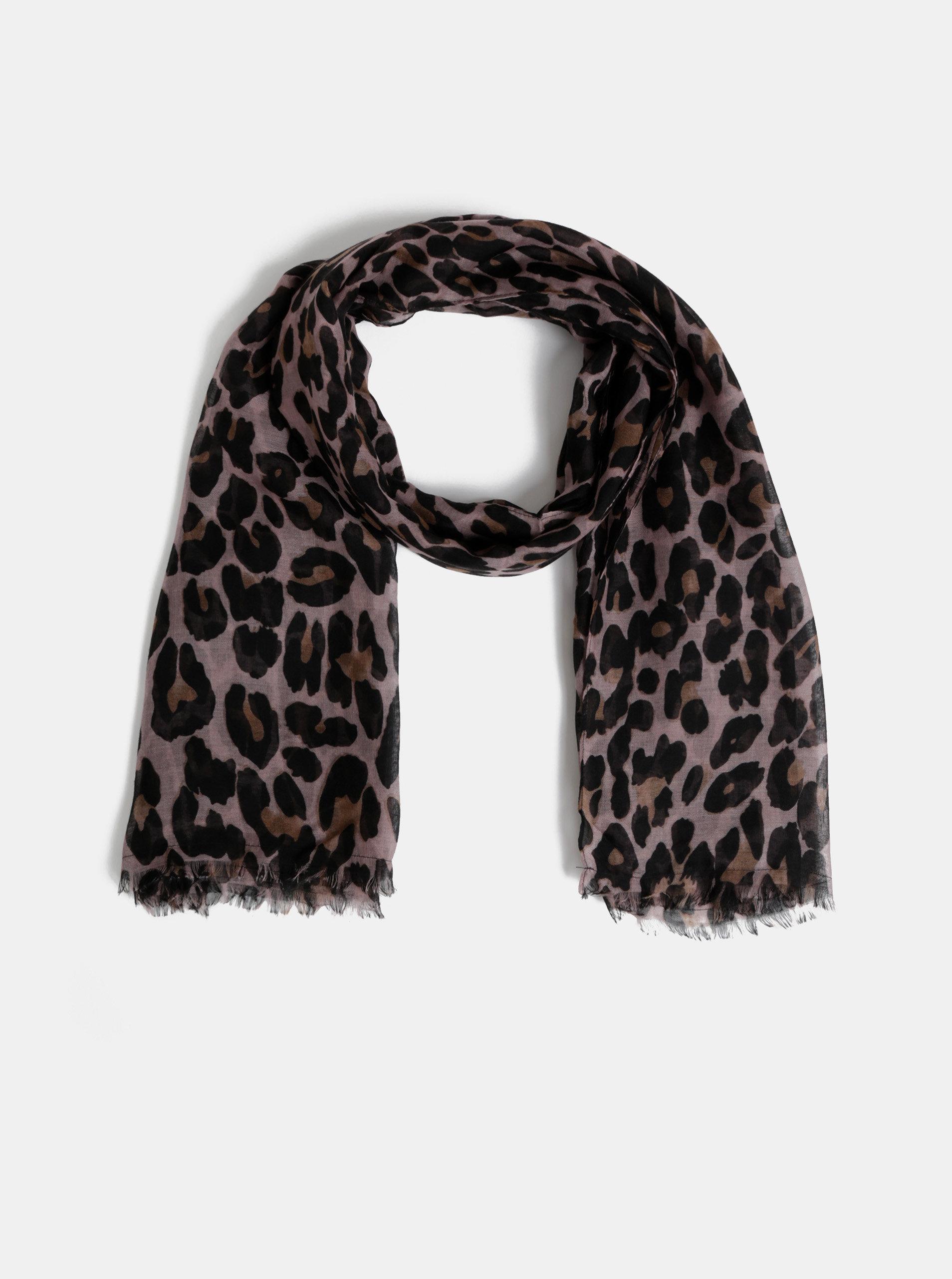 39e9dc5e54 Hnedo–čierna šatka s leopardím vzorom Pieces Carrie ...