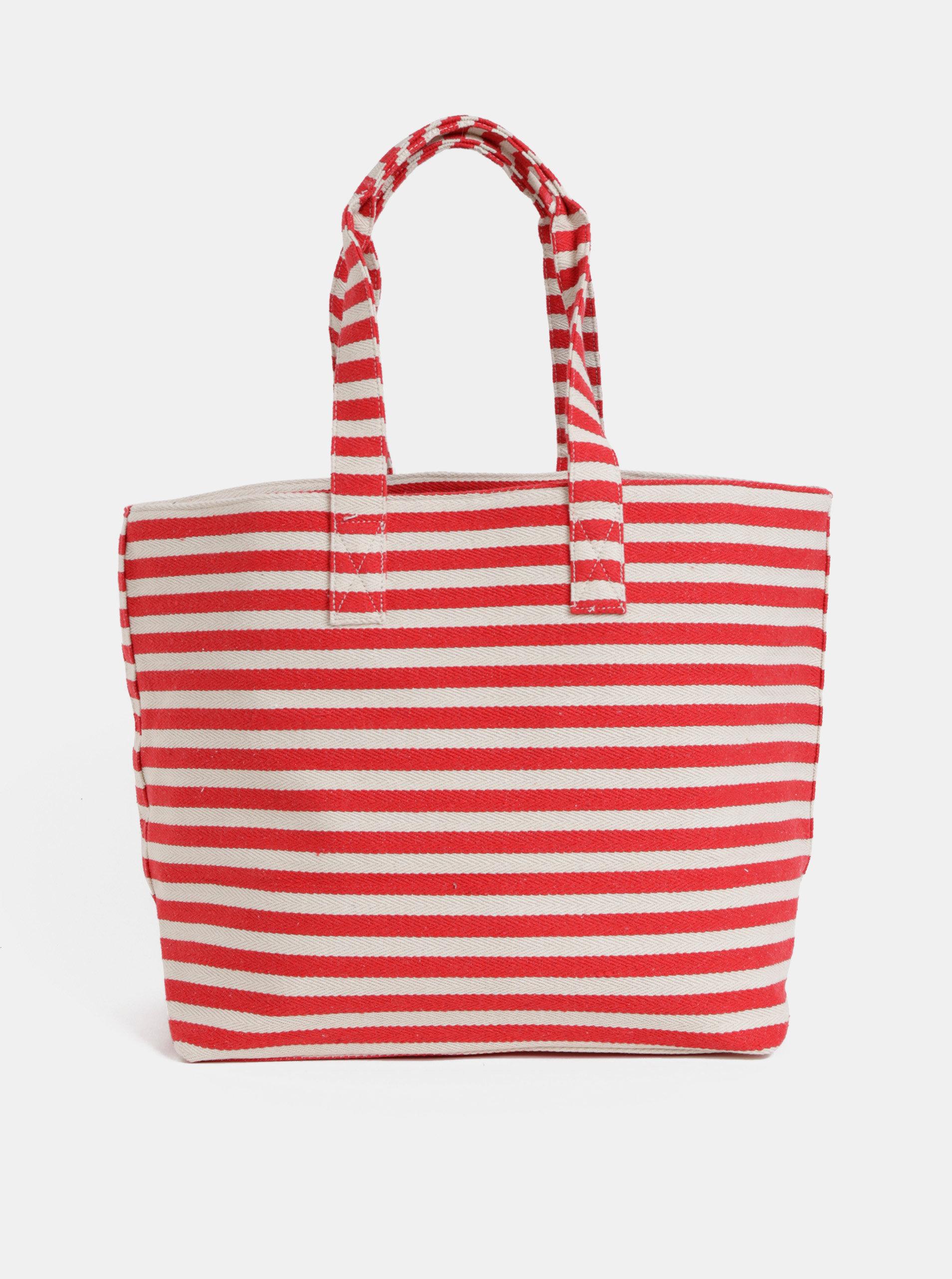 Krémovo-červená pruhovaná plážová taška Pieces Barbaro