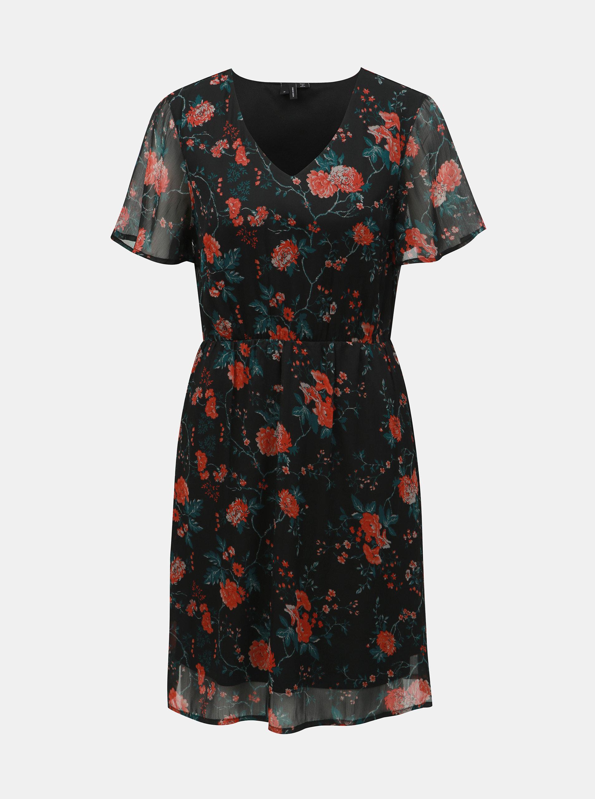 f118ac097c6b Červeno–čierne kvetované šaty VERO MODA Wonda ...