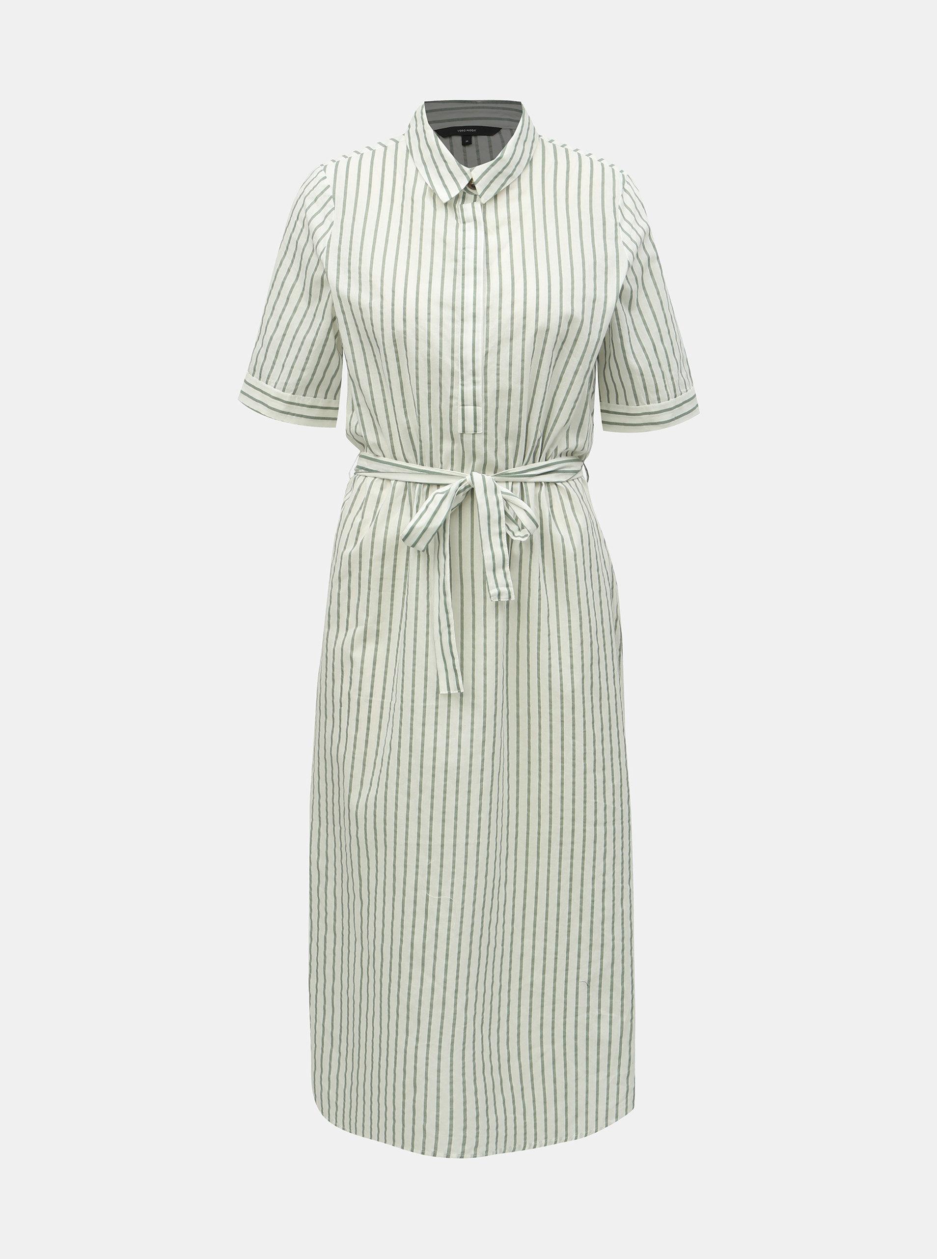 64bfe3fbfe88 Zeleno–biele pruhované košeľové šaty VERO MODA Cassie ...