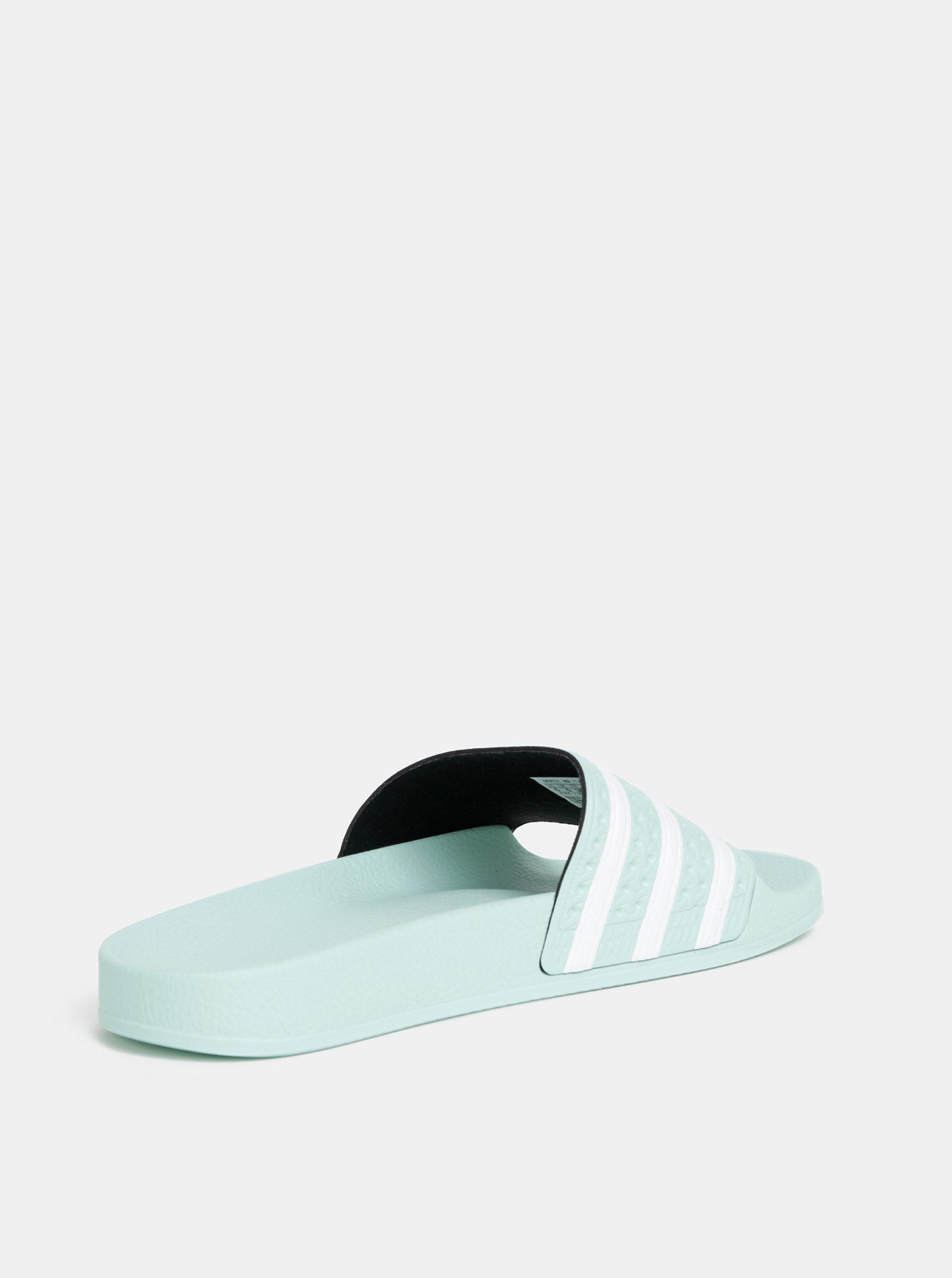 4b31052f92 Mentolové dámske pruhované šľapky adidas Originals Adilette ...