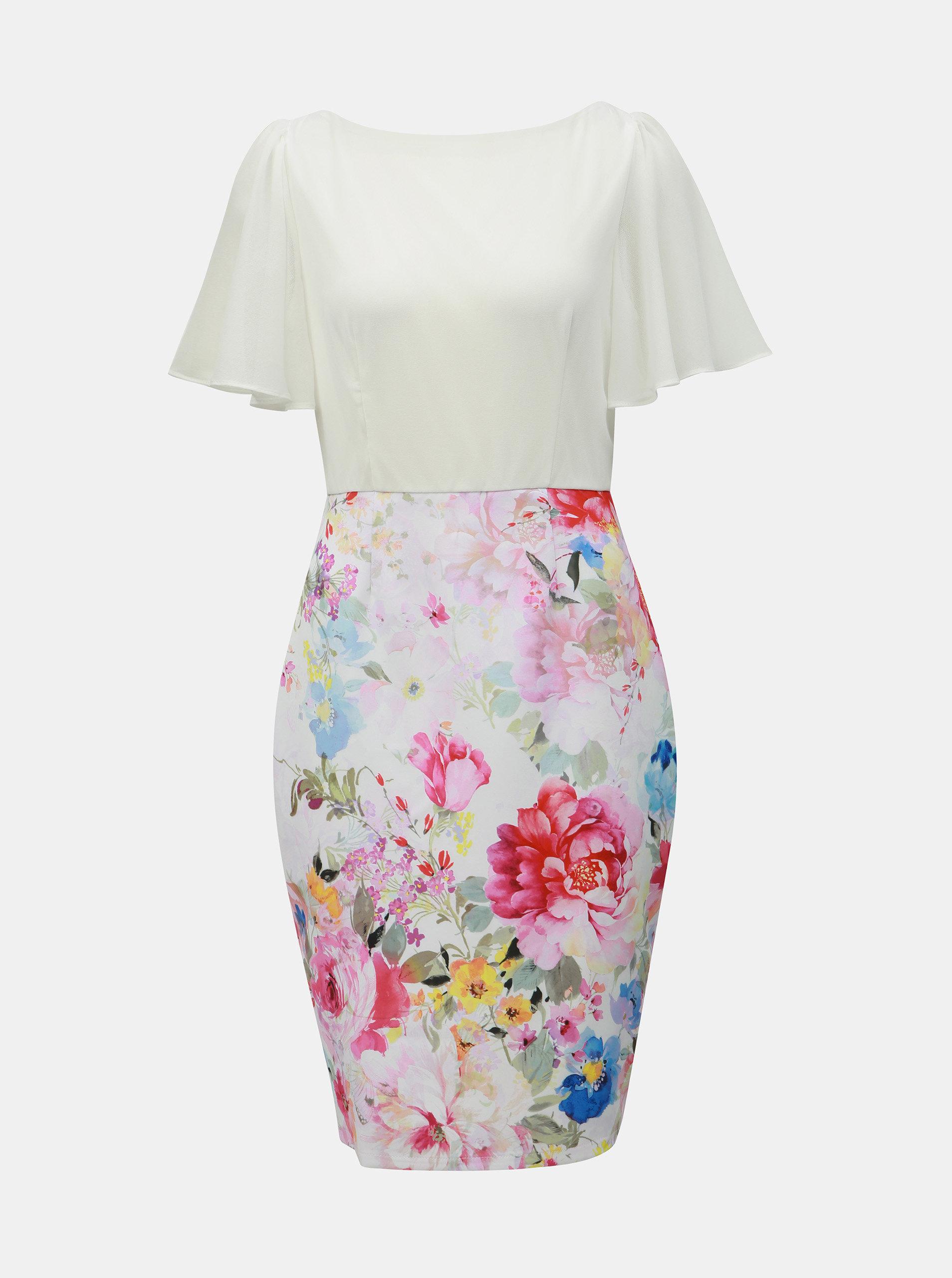 b4a39e84015b Bielo–ružové kvetované puzdrové šaty Dorothy Perkins ...