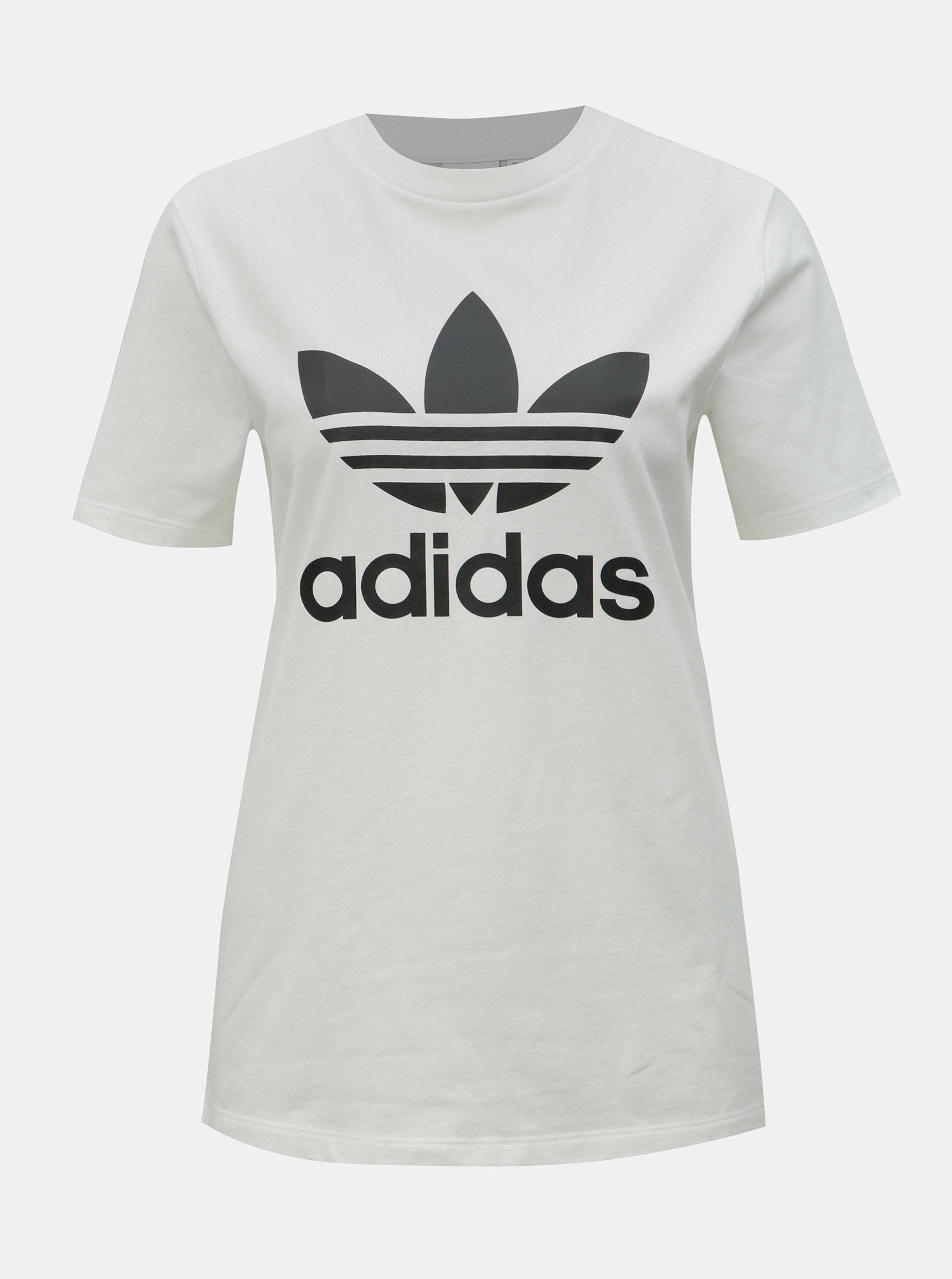 bcf71820f420 Bílé dámské tričko s potiskem adidas Originals Trefioil ...
