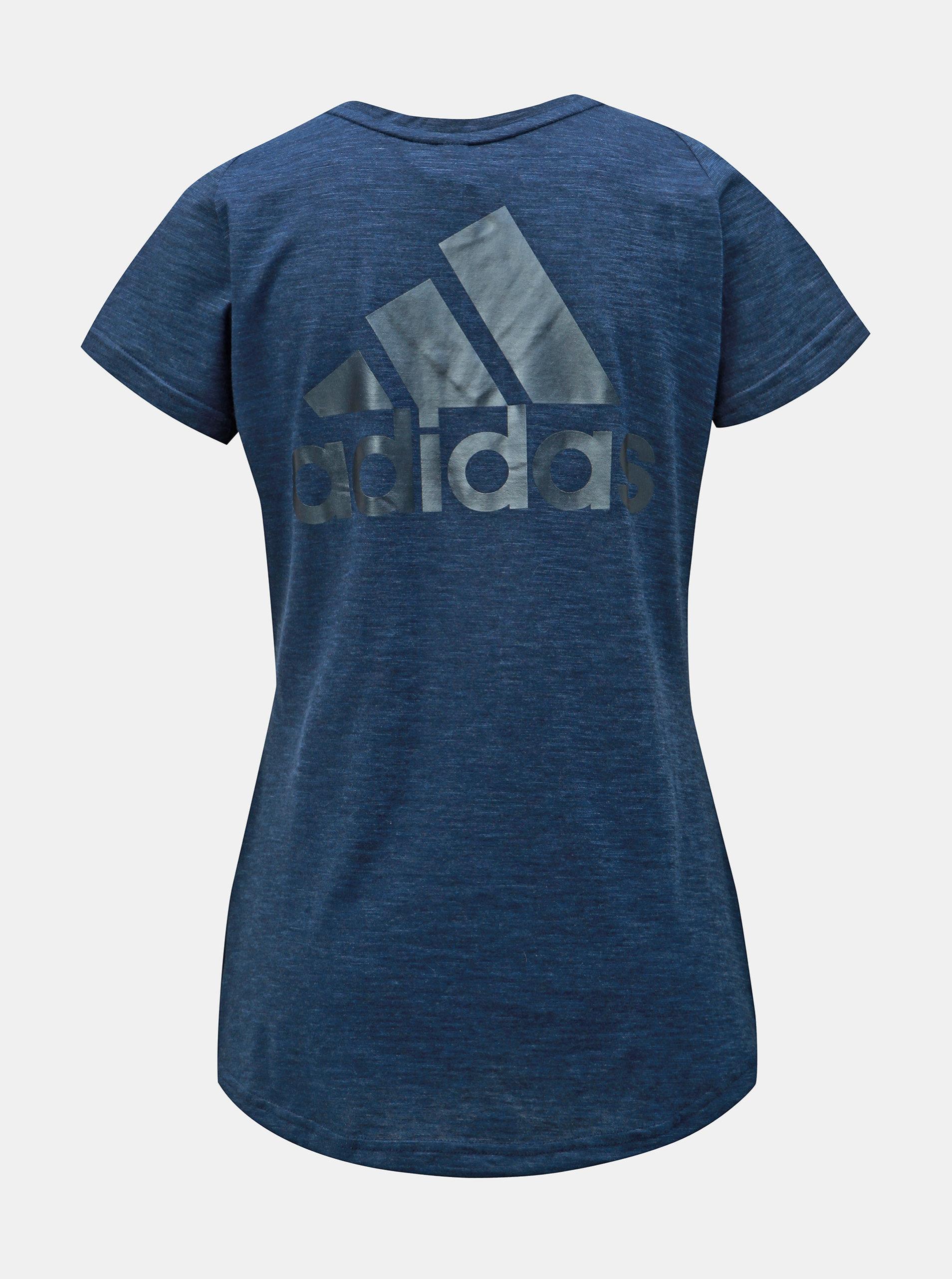 93d8cdac9988 Tmavomodré dámske melírované tričko s potlačou adidas Performance Winners  ...