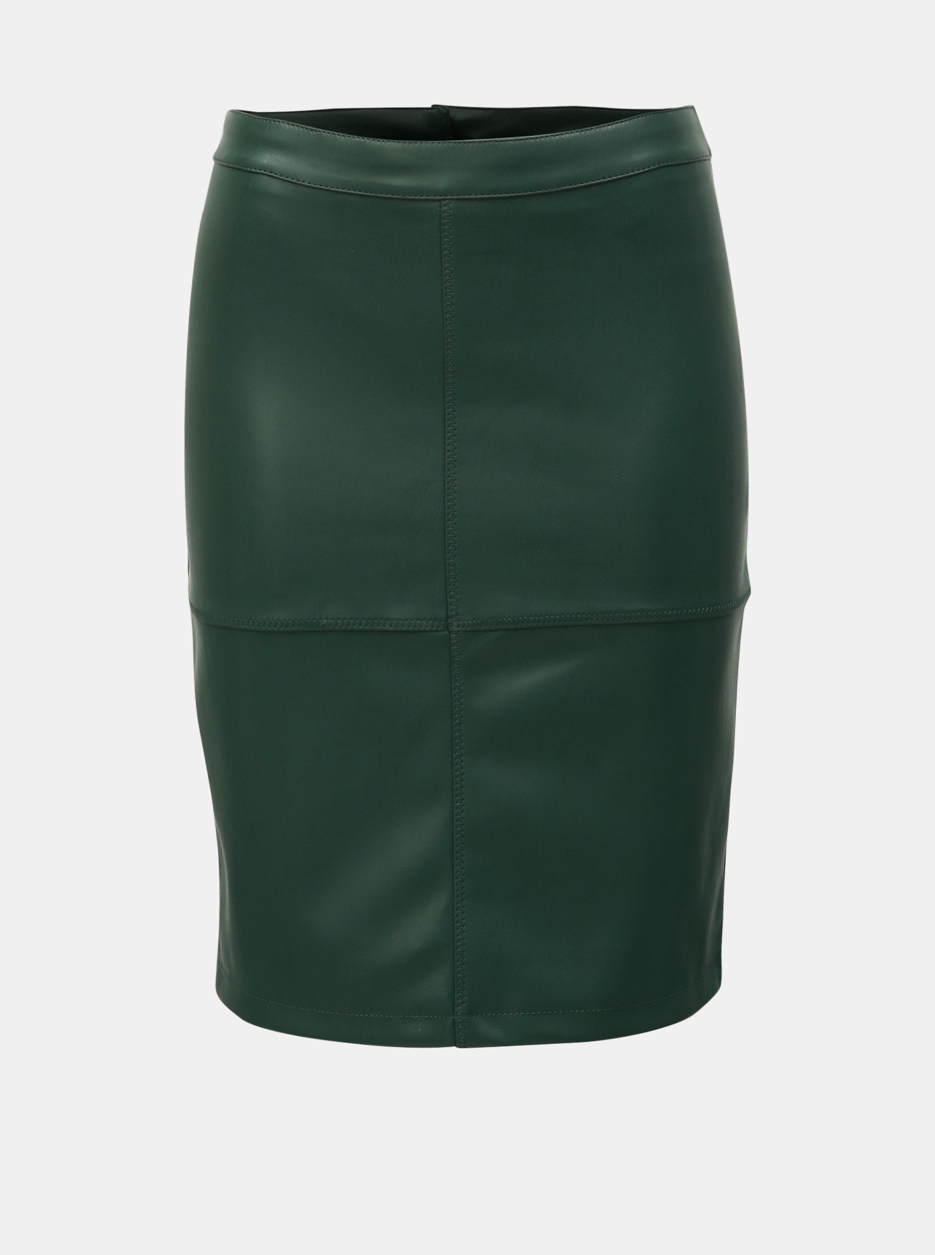 c9df7b366464 Tmavě zelená koženková sukně VILA Pen New ...