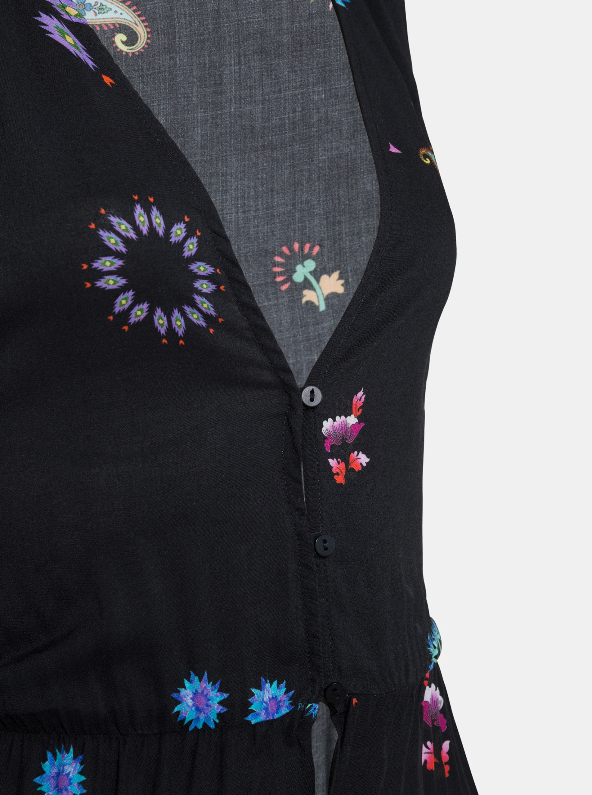 98547554d843 Černé květované maxišaty Desigual Magda ...