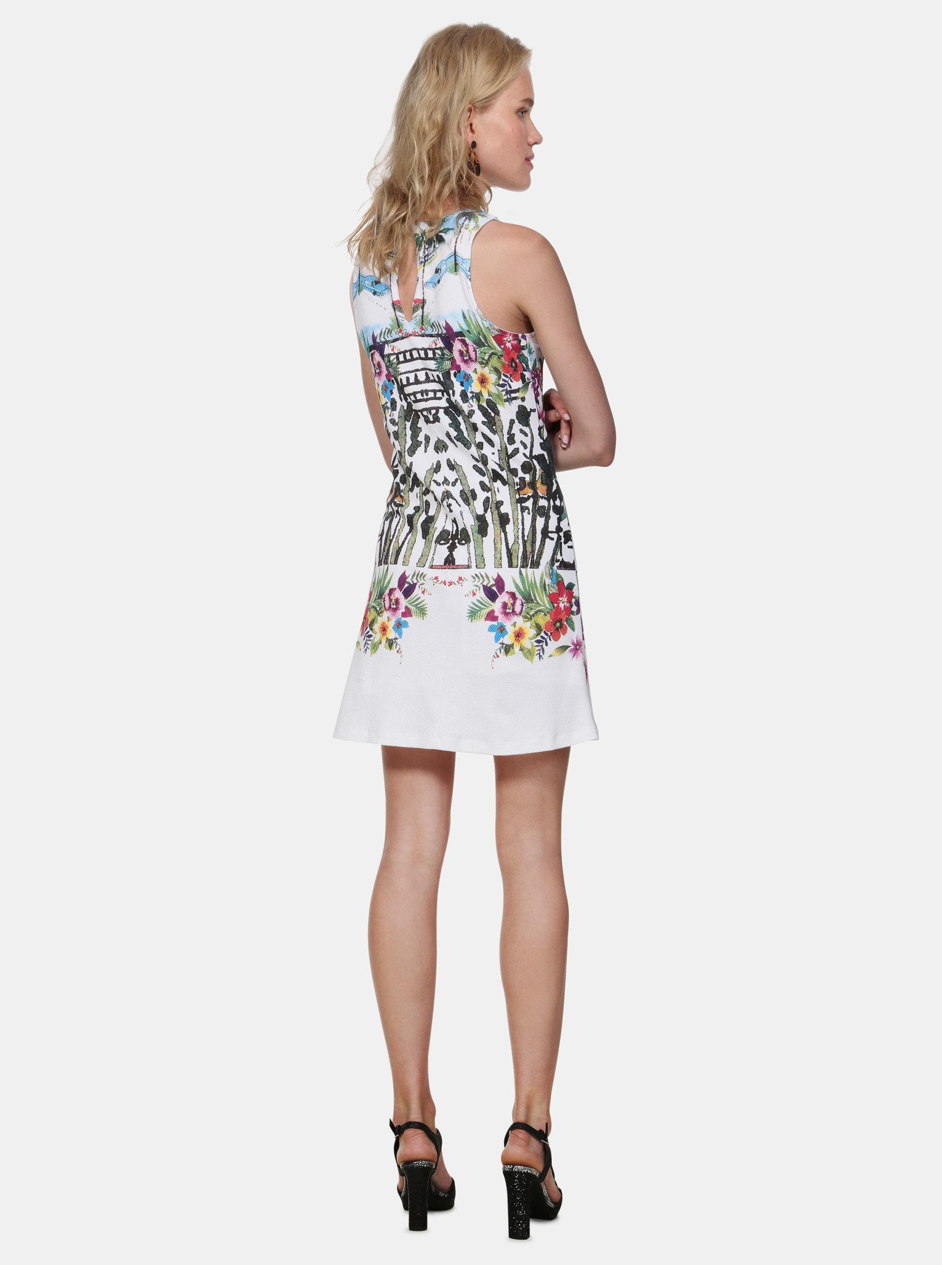 0e93b117c318 Biele vzorované šaty Desigual Anna ...