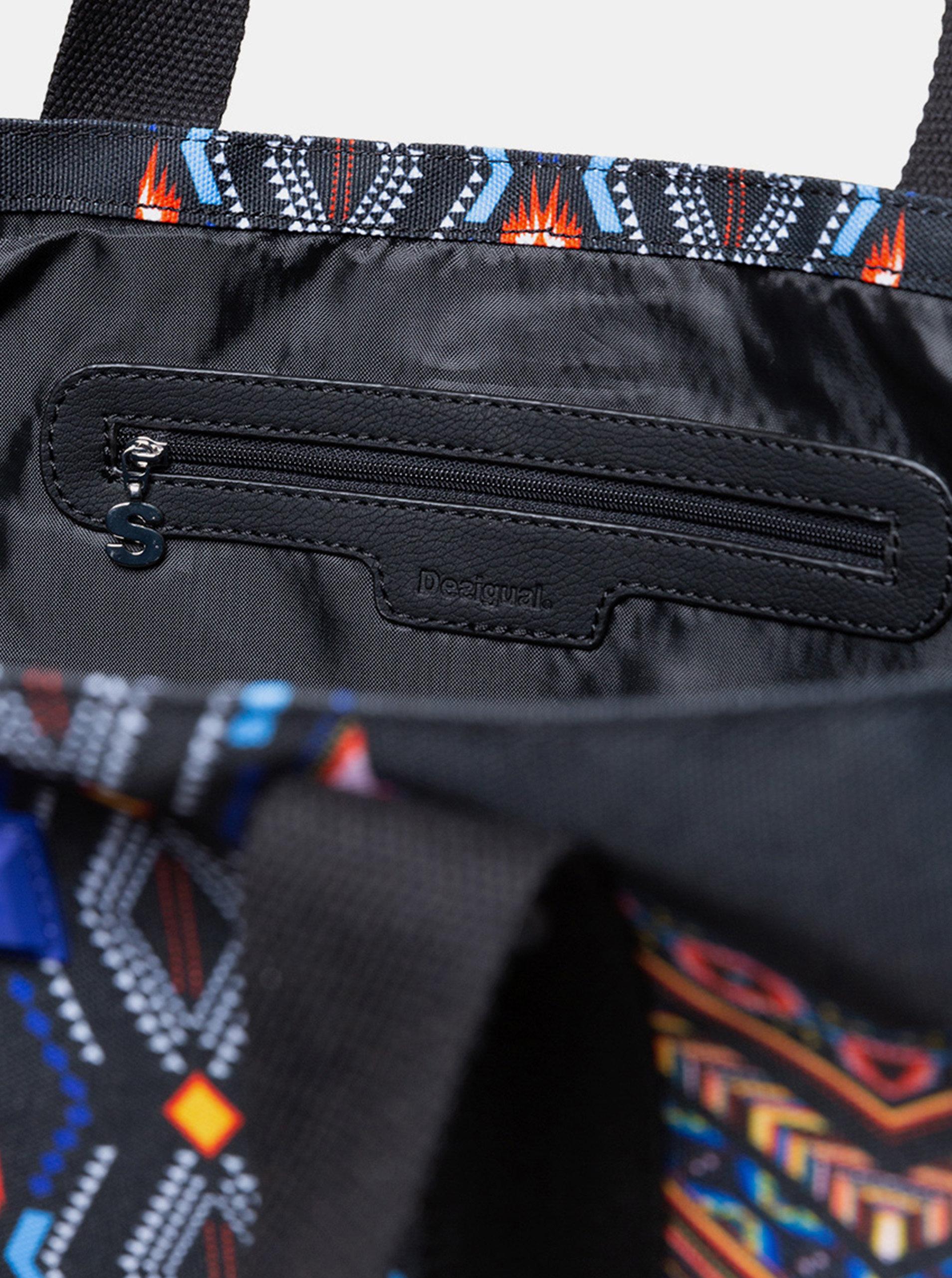 bec665868d3c Čierny vzorovaný shopper s puzdrom Desigual Medina ...