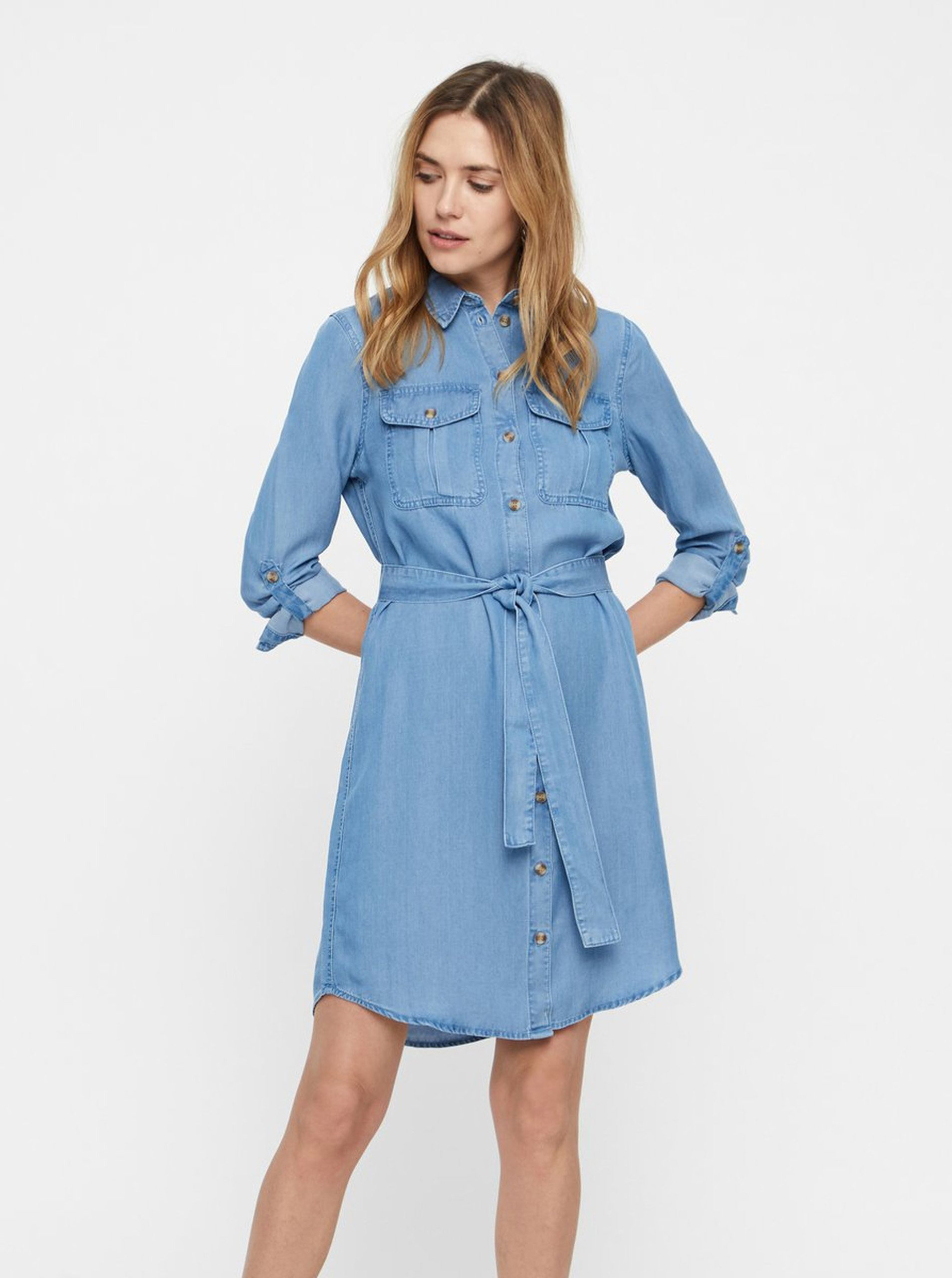 4d3aa43ce406 Modré rifľové košeľové šaty VERO MODA Mia ...