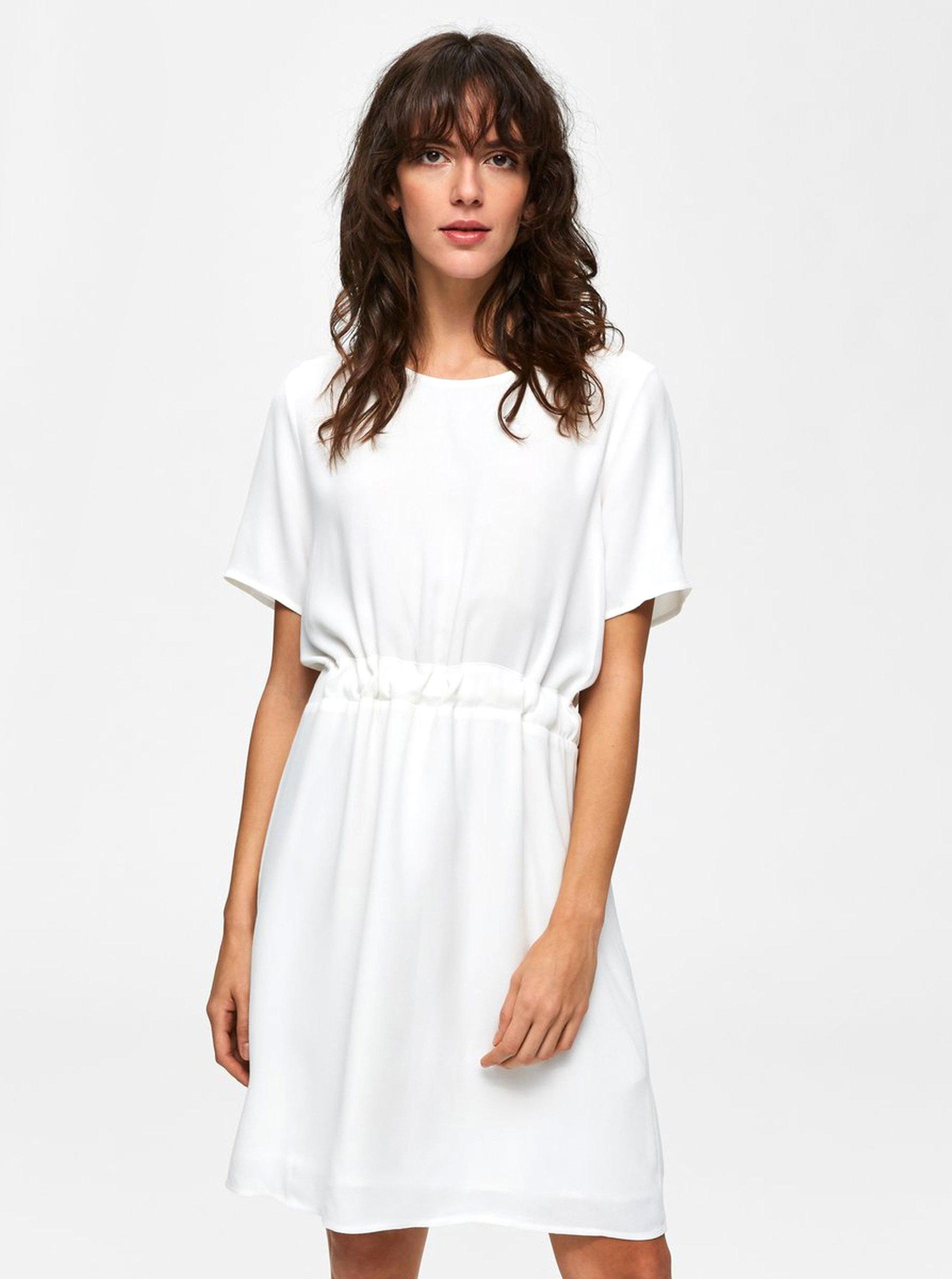 bdc2b2cfd723 Biele voľné šaty so zaväzovaním v páse Selected Femme Tanna ...