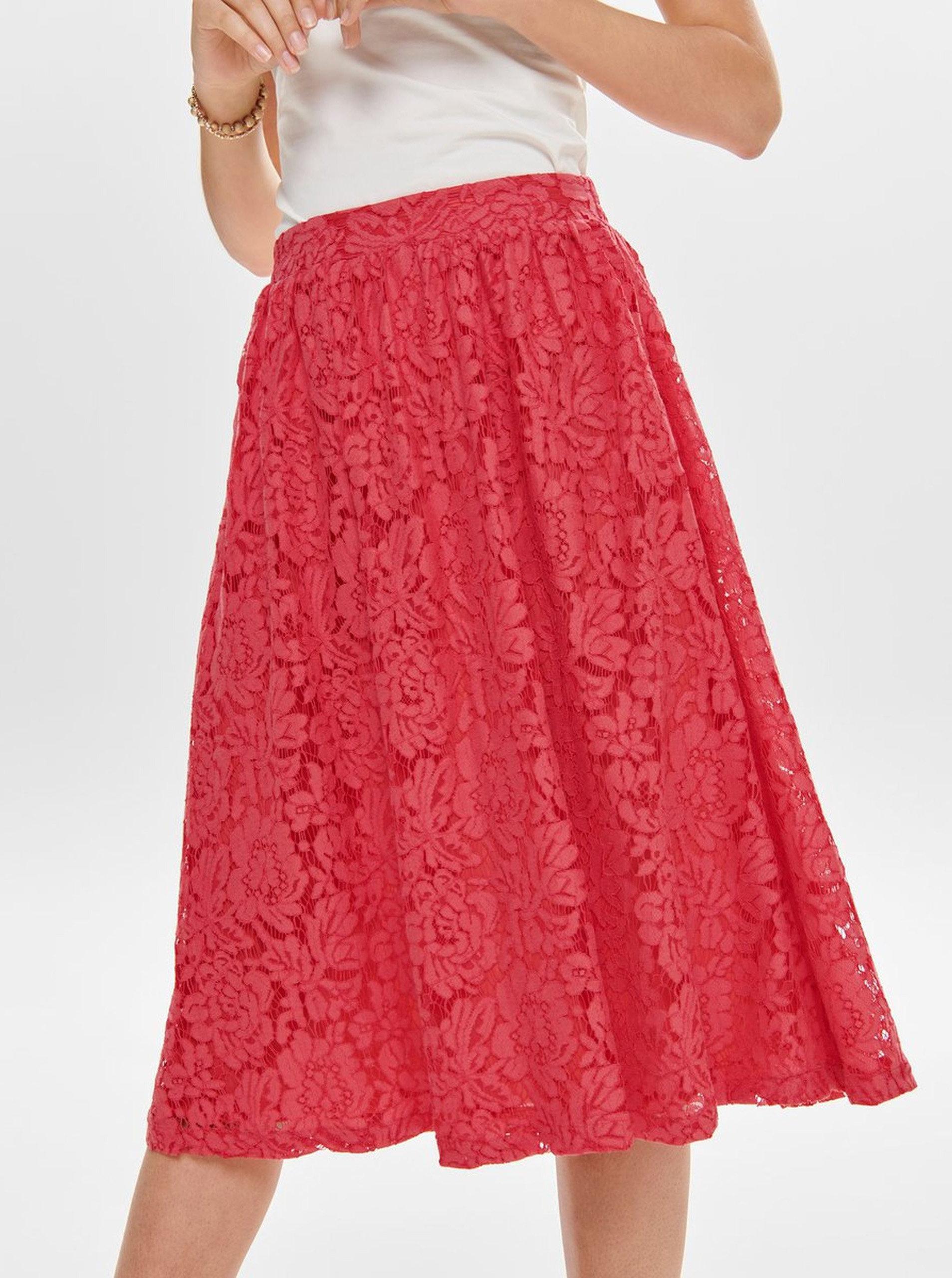 91b02e98d948 Červená čipkovaná sukňa ONLY Skylar ...