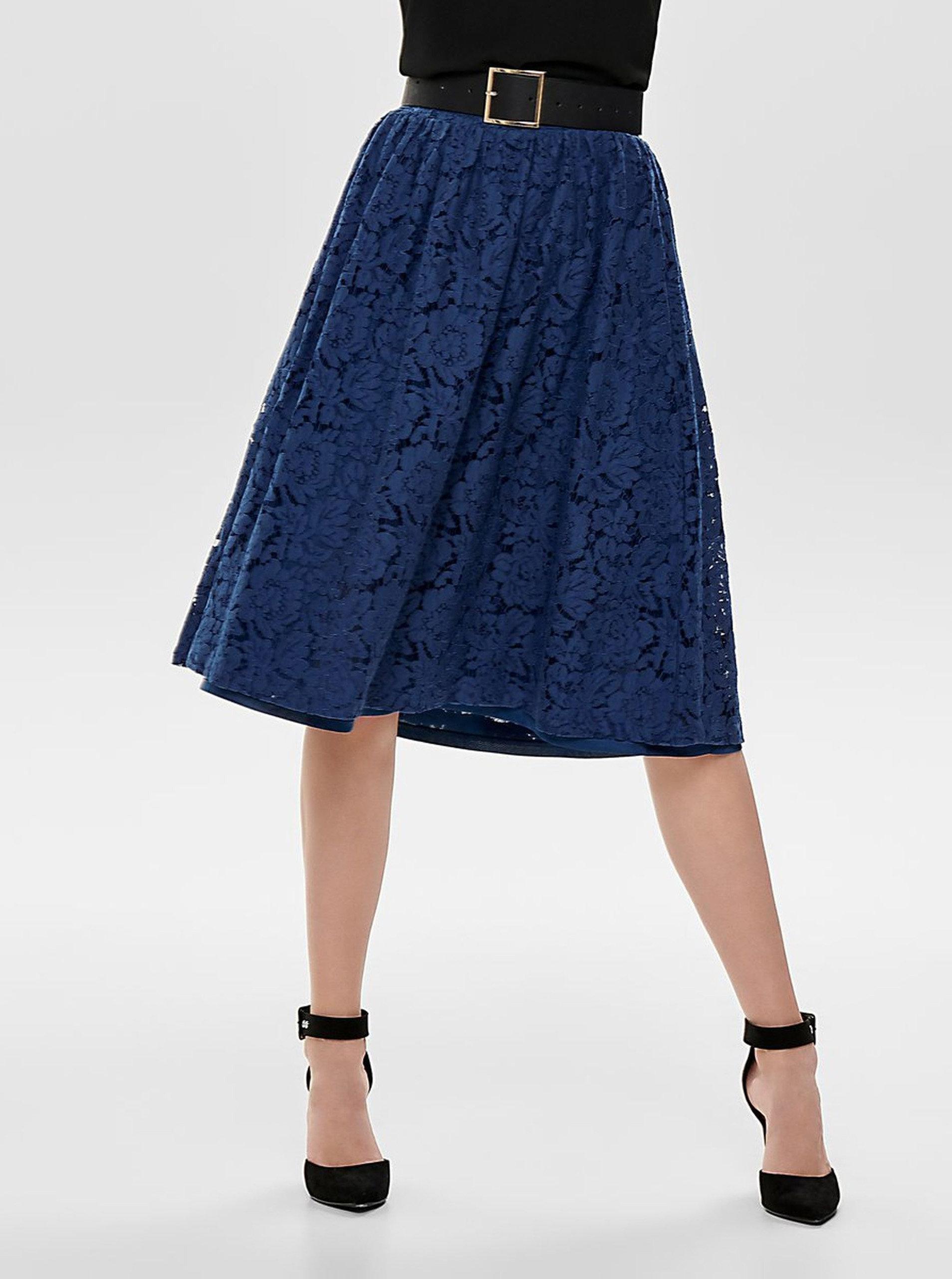 4c1e905b9684 Tmavomodrá čipkovaná sukňa ONLY Skylar ...