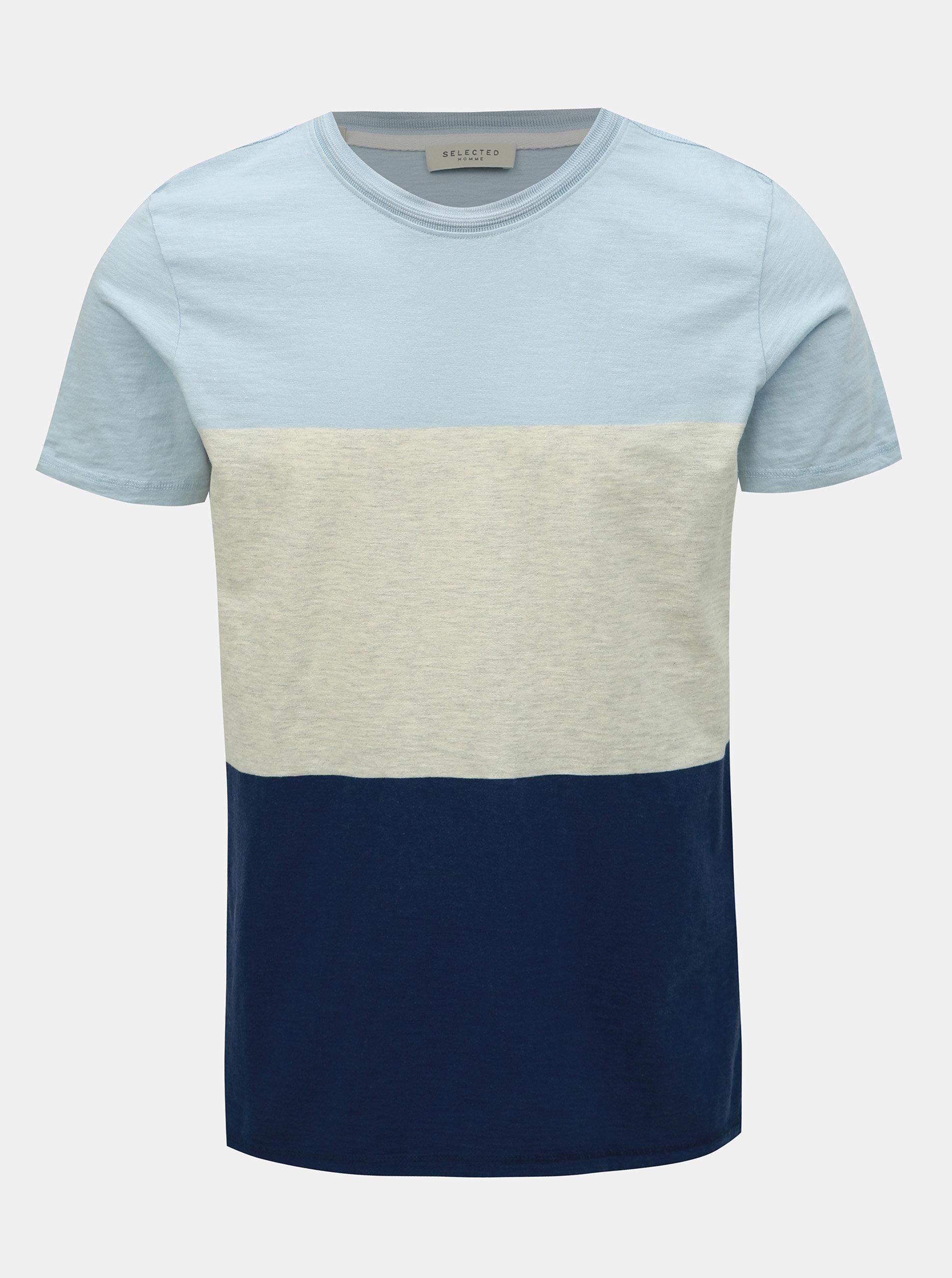 775e92d03adc Krémovo–modré tričko Selected Homme Kiyoshi ...