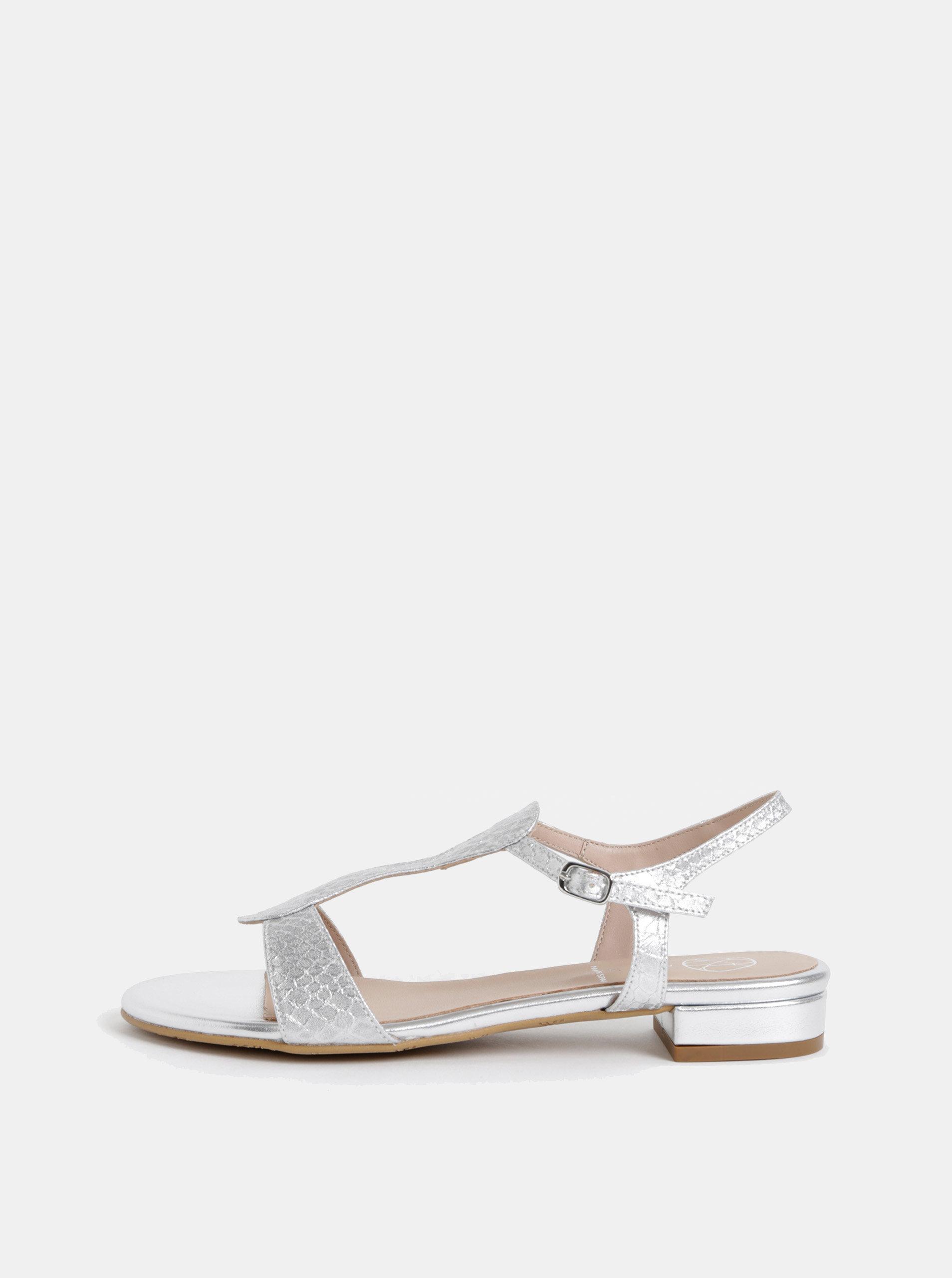 4d978b49c Sandále v striebornej farbe s hadím vzorom OJJU Marsella | ZOOT.sk