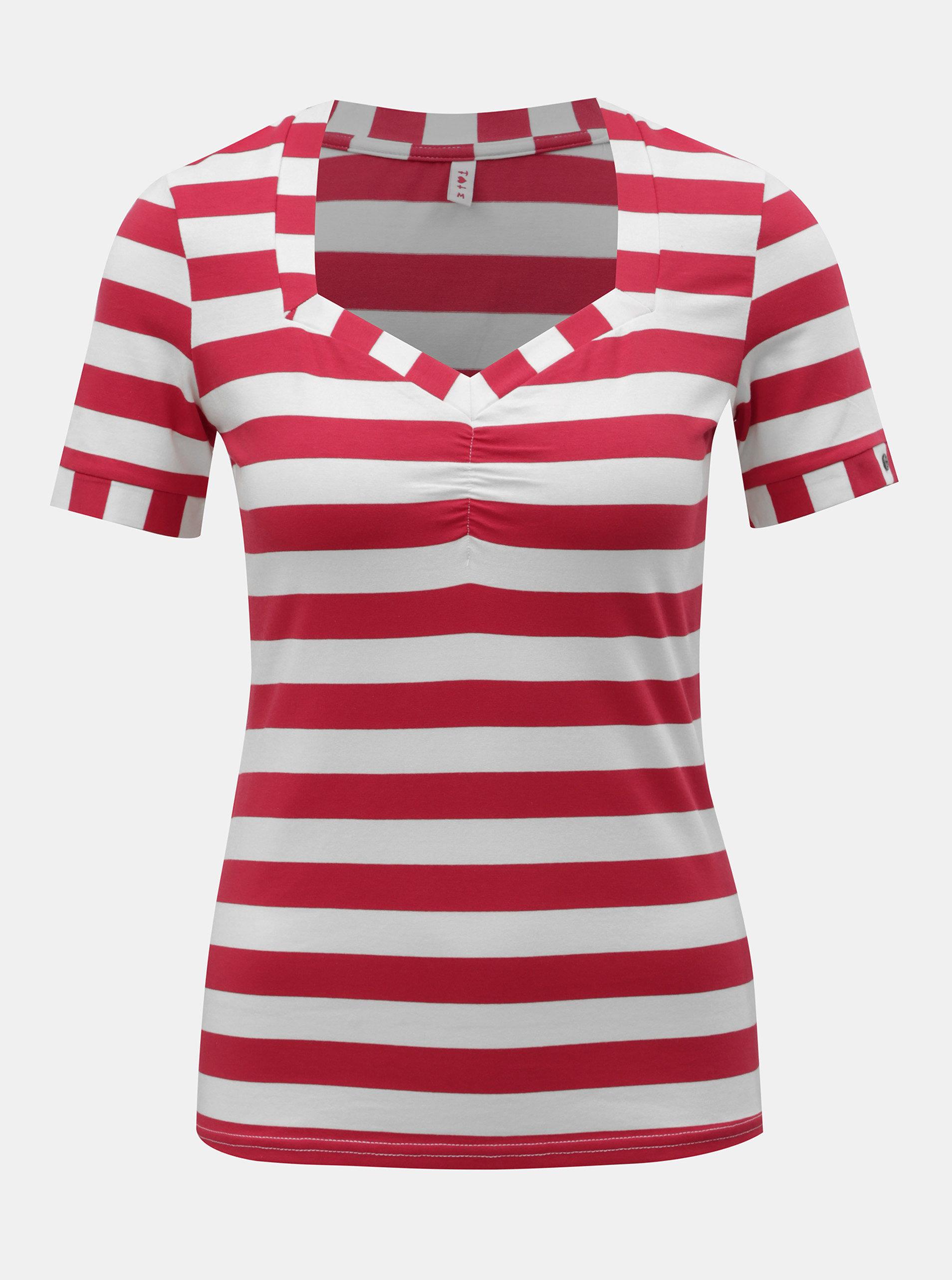 20e2e652f514 Bielo–červené pruhované tričko Blutsgeschwister Logo Stripe ...