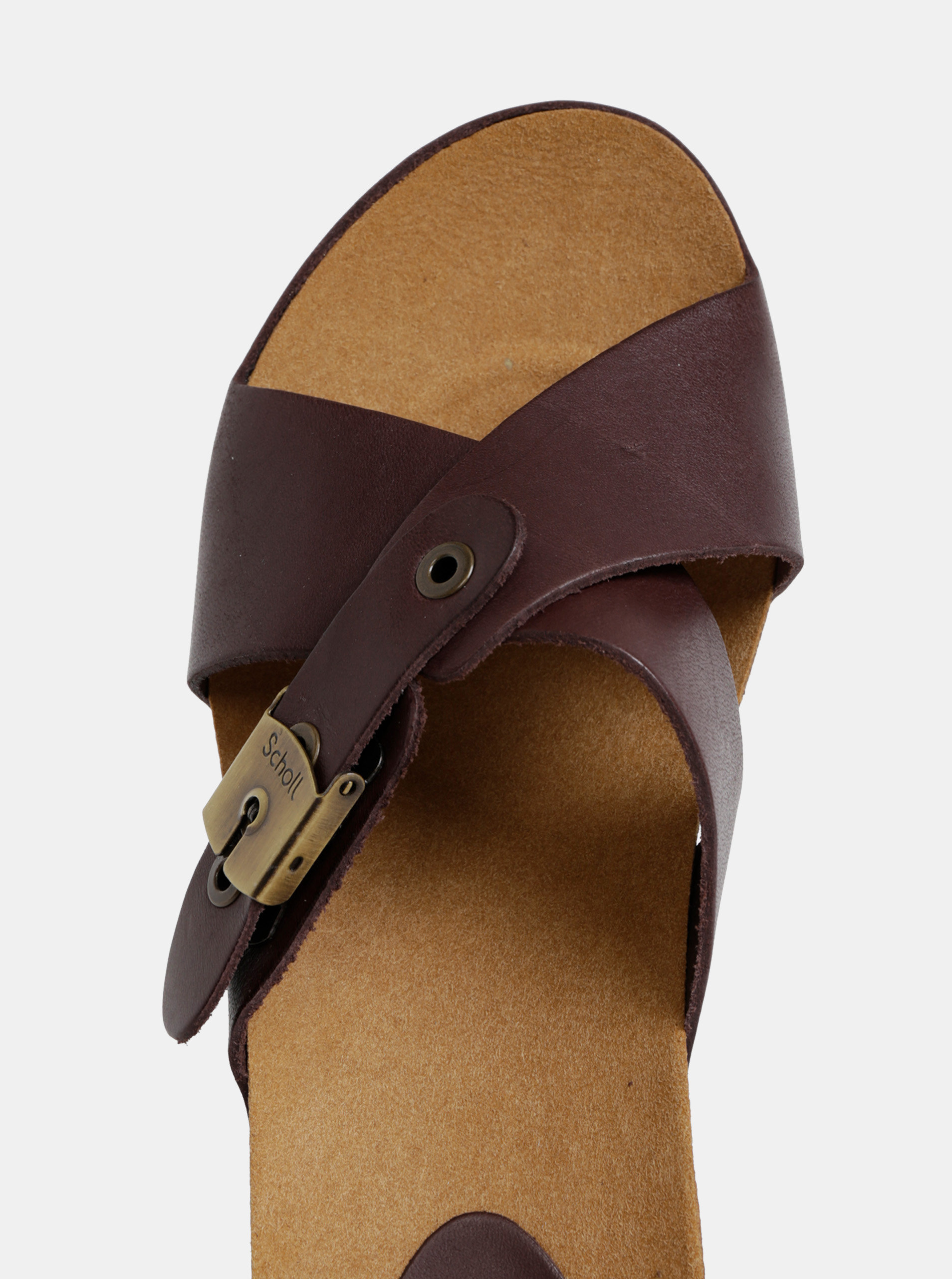 f83659c9cbb2 Hnědé dámské kožené pantofle na klínku Scholl Elon ...