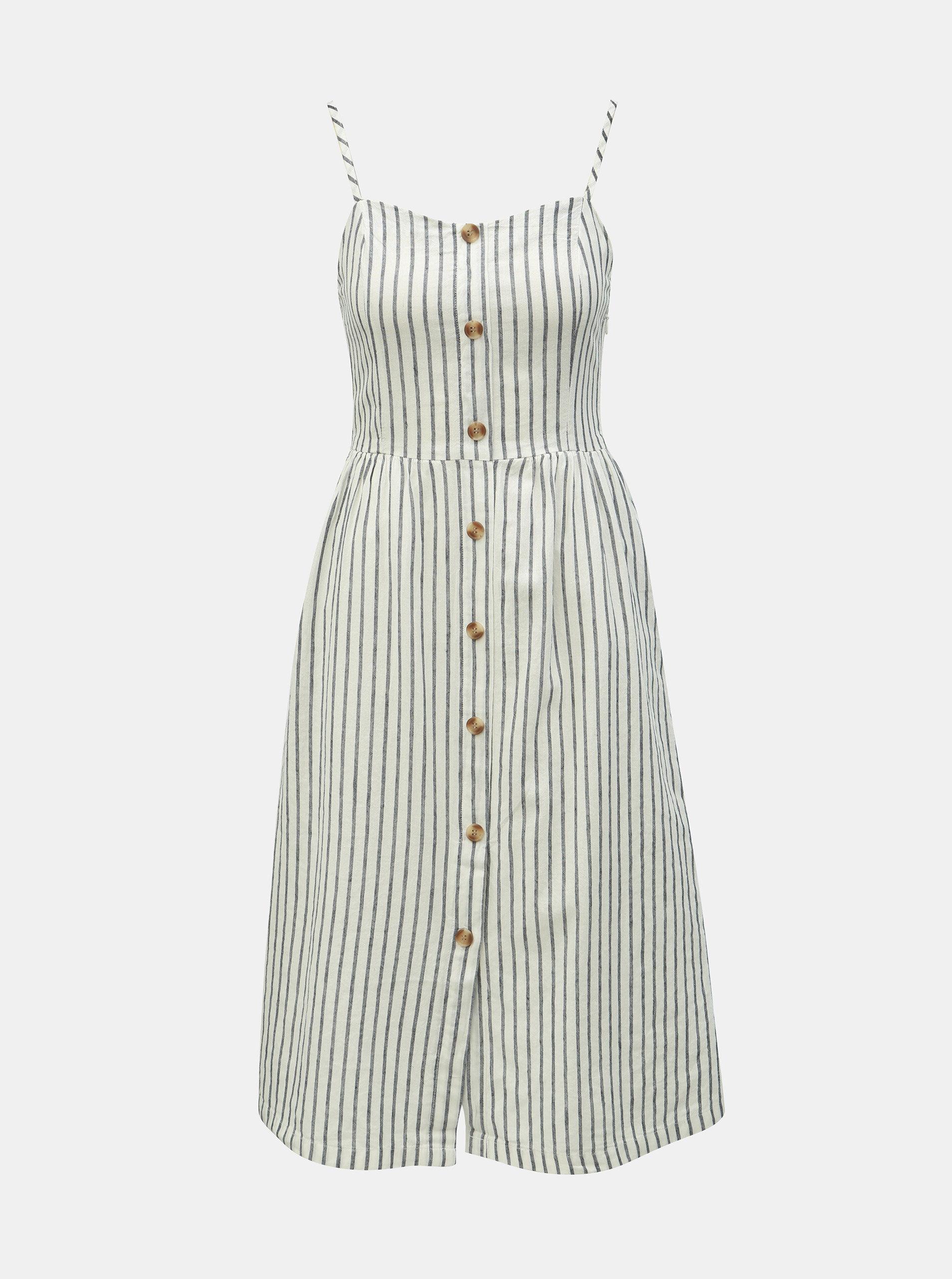 51bd0c6e3a4e Biele pruhované šaty na ramienka s prímesou ľanu ONLY Luna ...