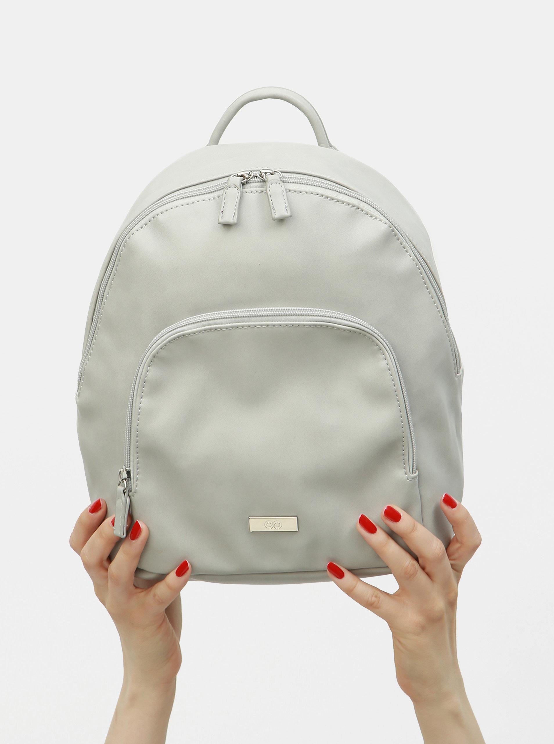bad31dcac4 Svetlosivý koženkový batoh s predným vreckom ZOOT