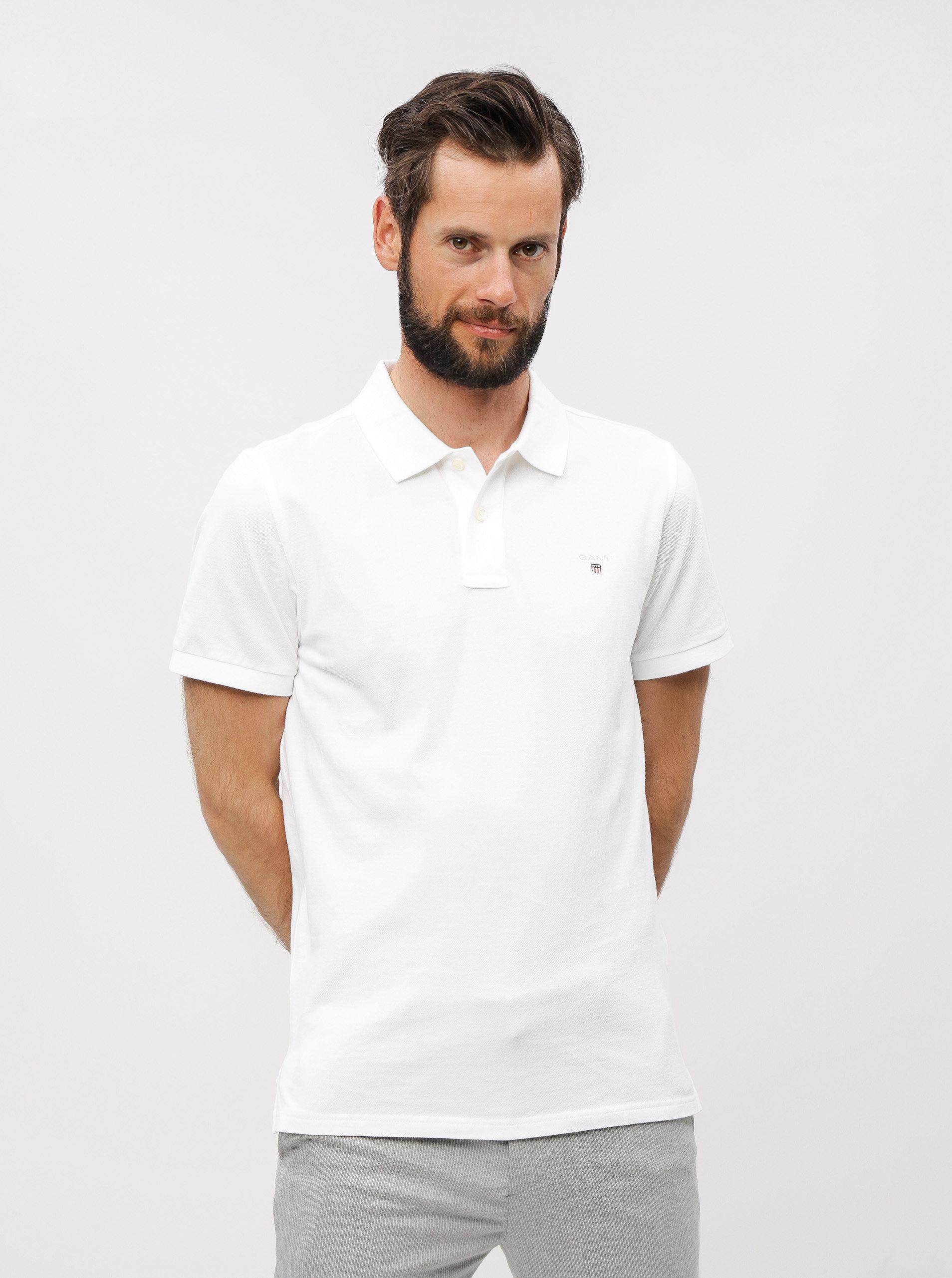 701e875df2cd Bílé pánské polo tričko GANT Original Pique ...