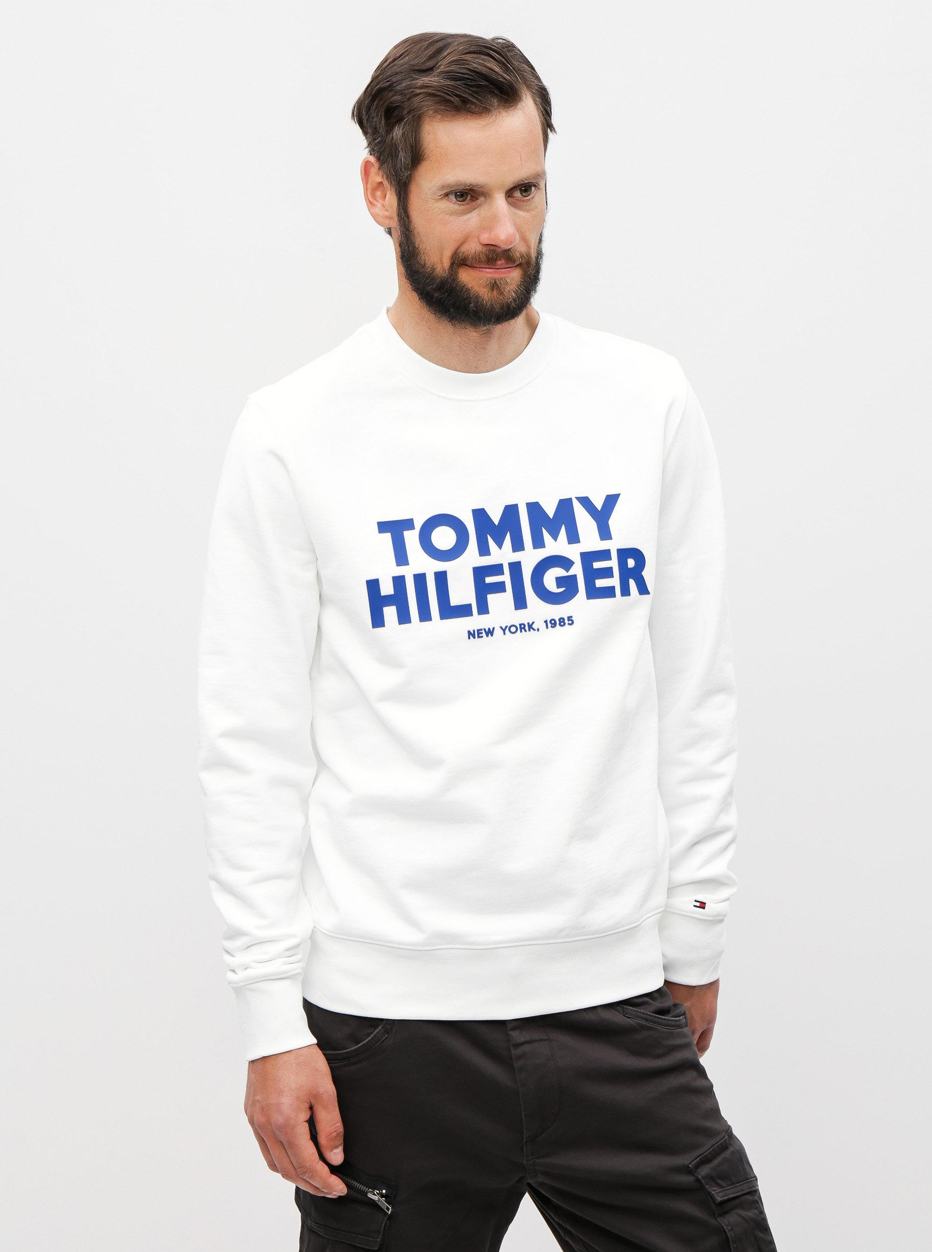 4c5ca313cf Biela pánska mikina s potlačou Tommy Hilfiger ...