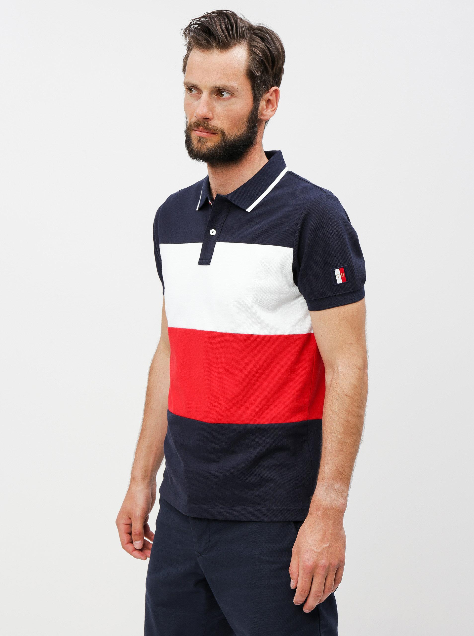 e1682b1404 Červeno-modré pánské pruhované slim fit polo tričko Tommy Hilfiger ...