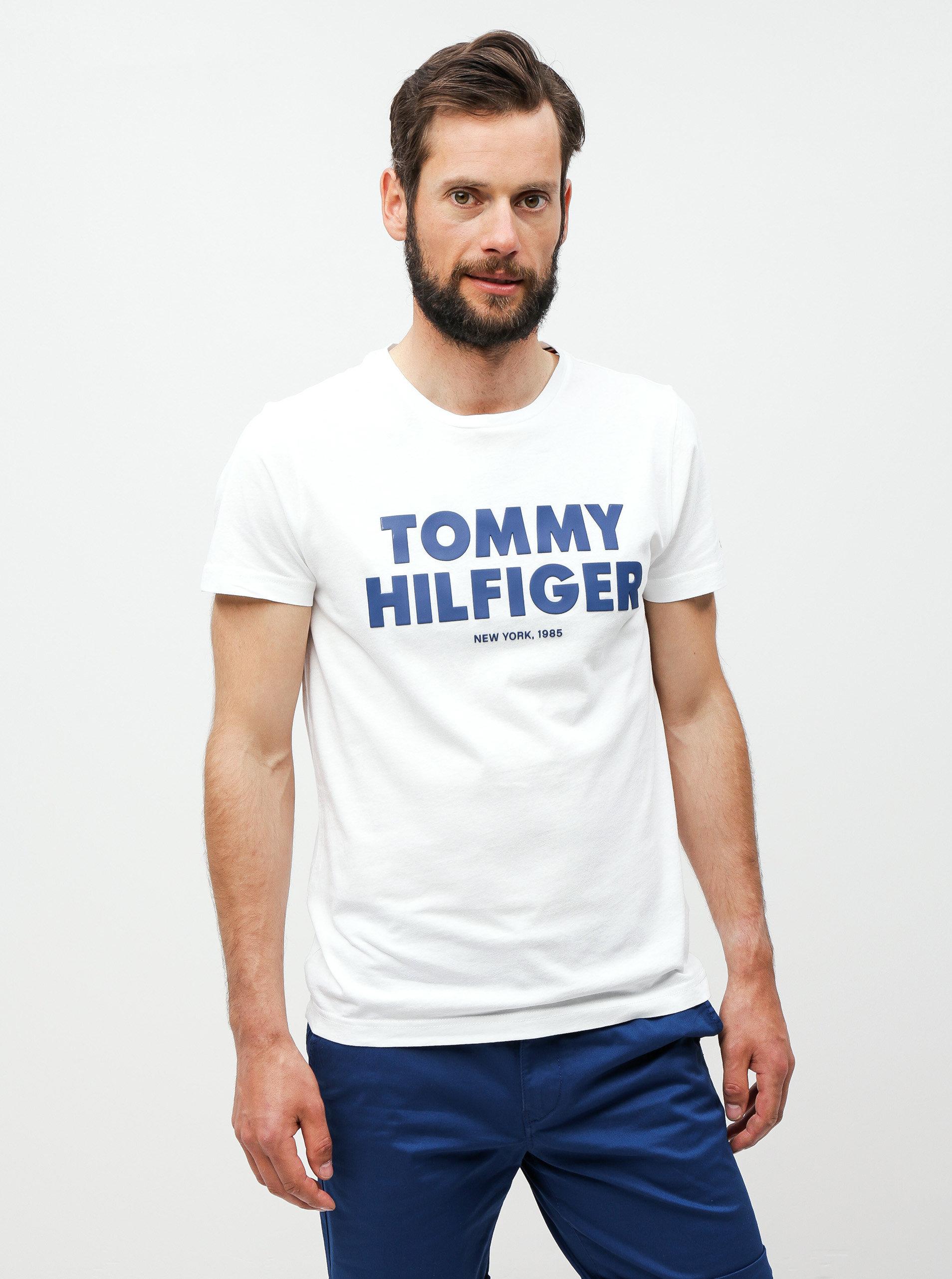 339ae85176 Biele pánske tričko s potlačou Tommy Hilfiger ...