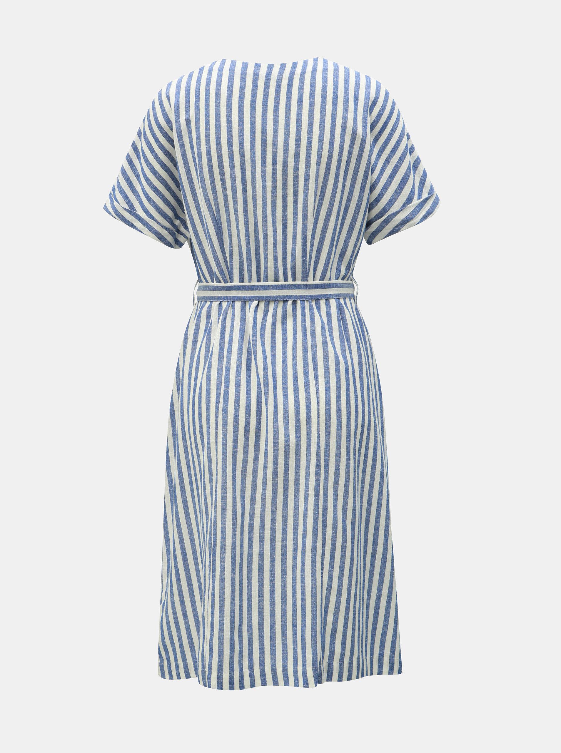 1c9ba54e2c51 Bielo–modré pruhované šaty s prímesou ľanu Dorothy Perkins ...