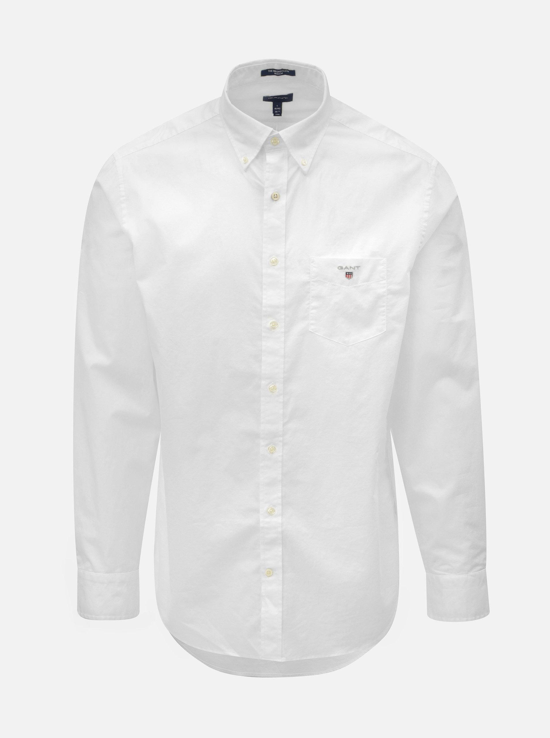 07bc935499d1 Biela pánska regular fit košeľa GANT ...