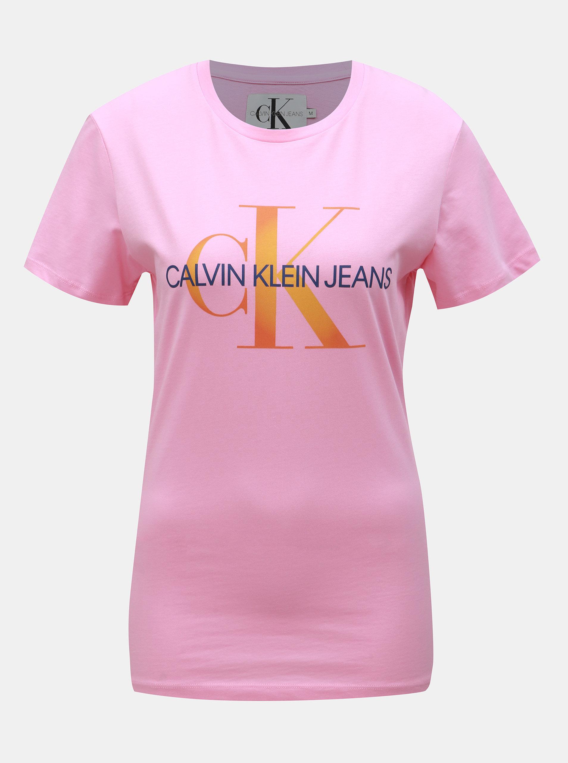 50a05d6b4a3a Růžové dámské tričko s potiskem Calvin Klein Jeans ...