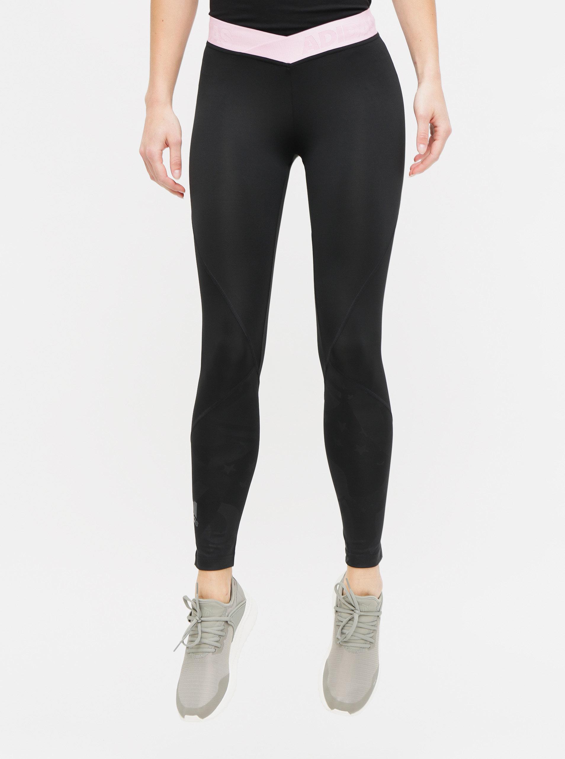 2d5b61f82165 Čierne dámske vzorované legíny adidas Performance ...