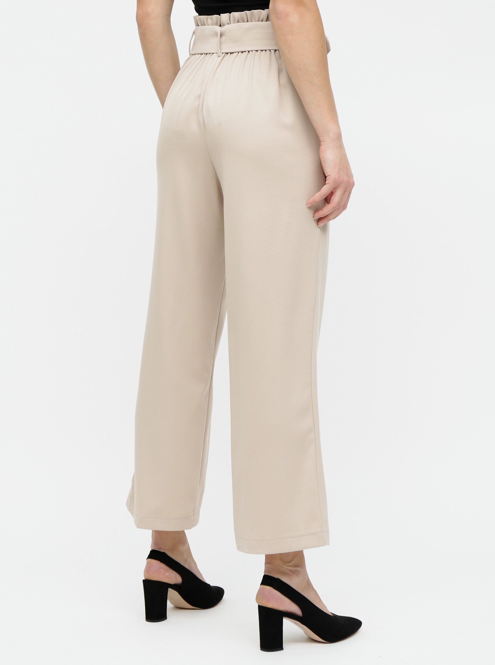 9c225b89d Béžové široké nohavice s opaskom a vysokým pásom TALLY WEiJL | ZOOT.sk