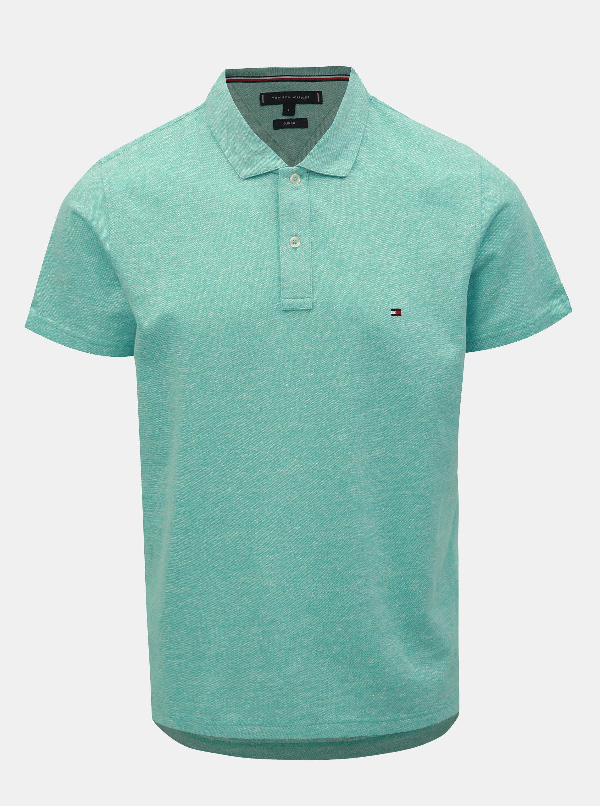 cefed16a6c Světle modré pánské lněné slim fit polo tričko Tommy Hilfiger ...
