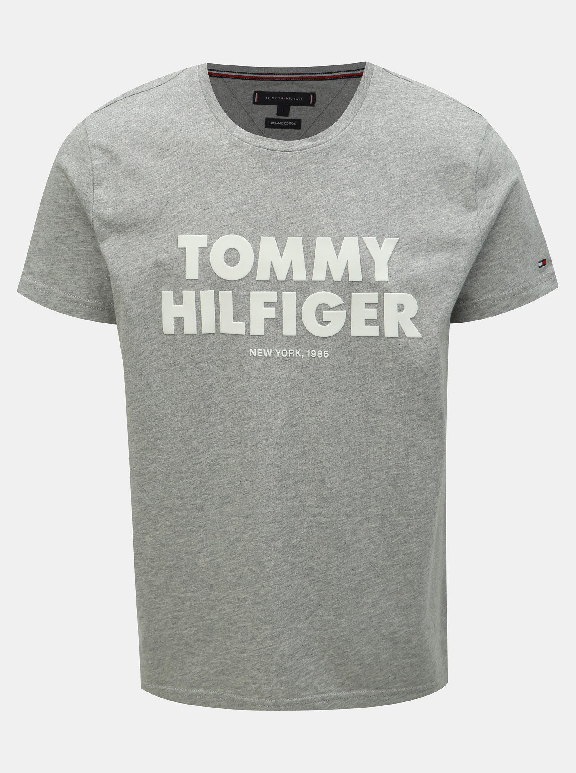 1df36bdc1b9f Sivé pánske melírované tričko s potlačou Tommy Hilfiger ...