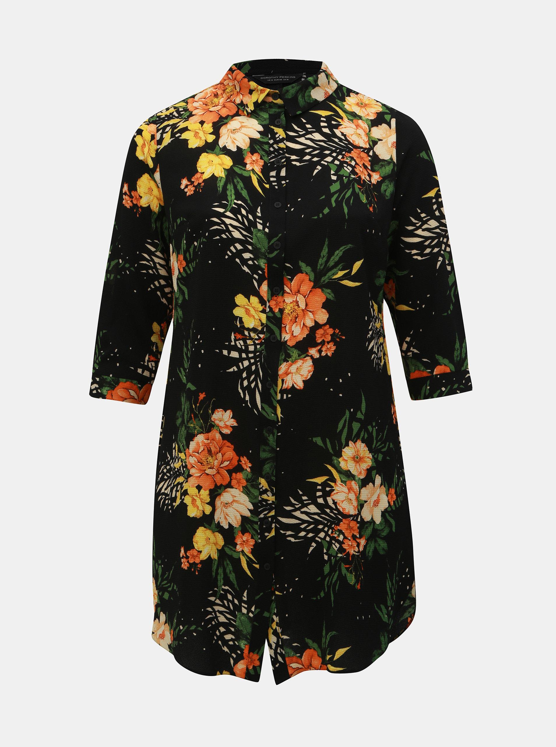 48946afdcec0 Čierne kvetované košeľové šaty Dorothy Perkins Curve ...