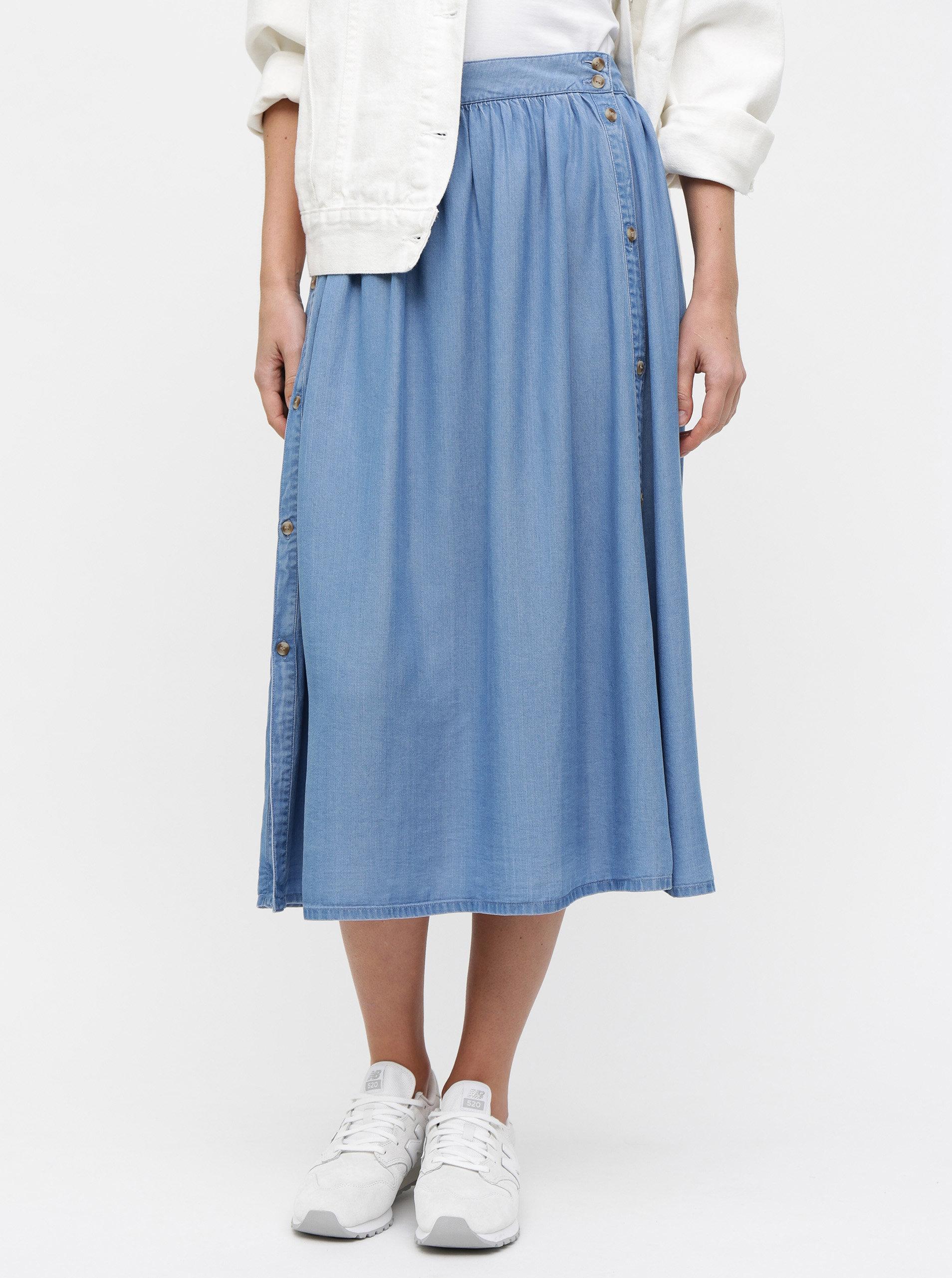 e4383027e132 Modrá midi sukně s knoflíky VERO MODA Mia ...