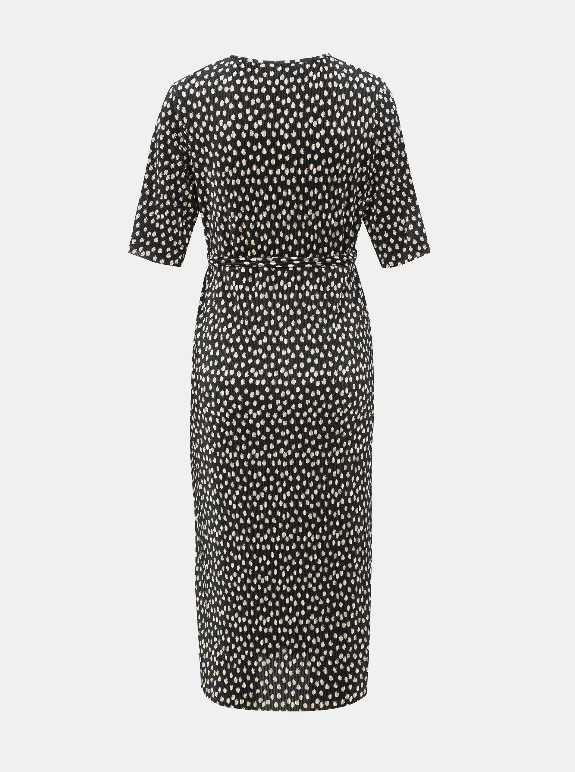 007b6b967d08 Čierne tehotenské plisované bodkované šaty Dorothy Perkins Maternity ...