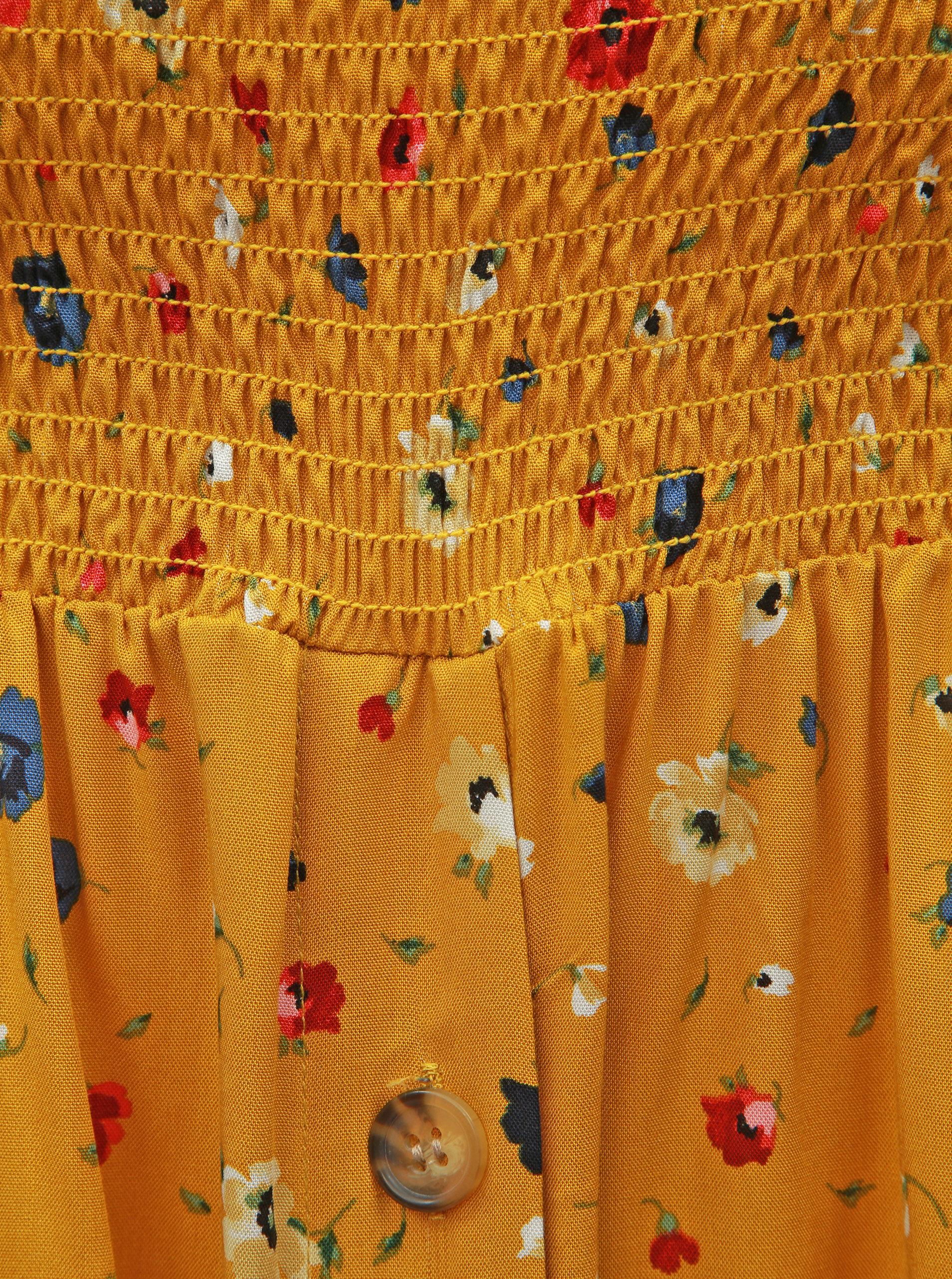 bf87667e2584 Horčicové kvetované šaty s odhalenými ramenami Dorothy Perkins Petite ...