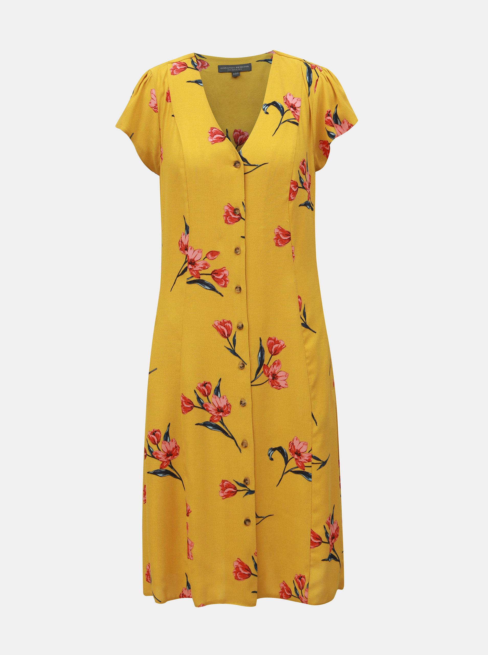 d4a03a0d645c Horčicové kvetované šaty Dorothy Perkins Tall ...