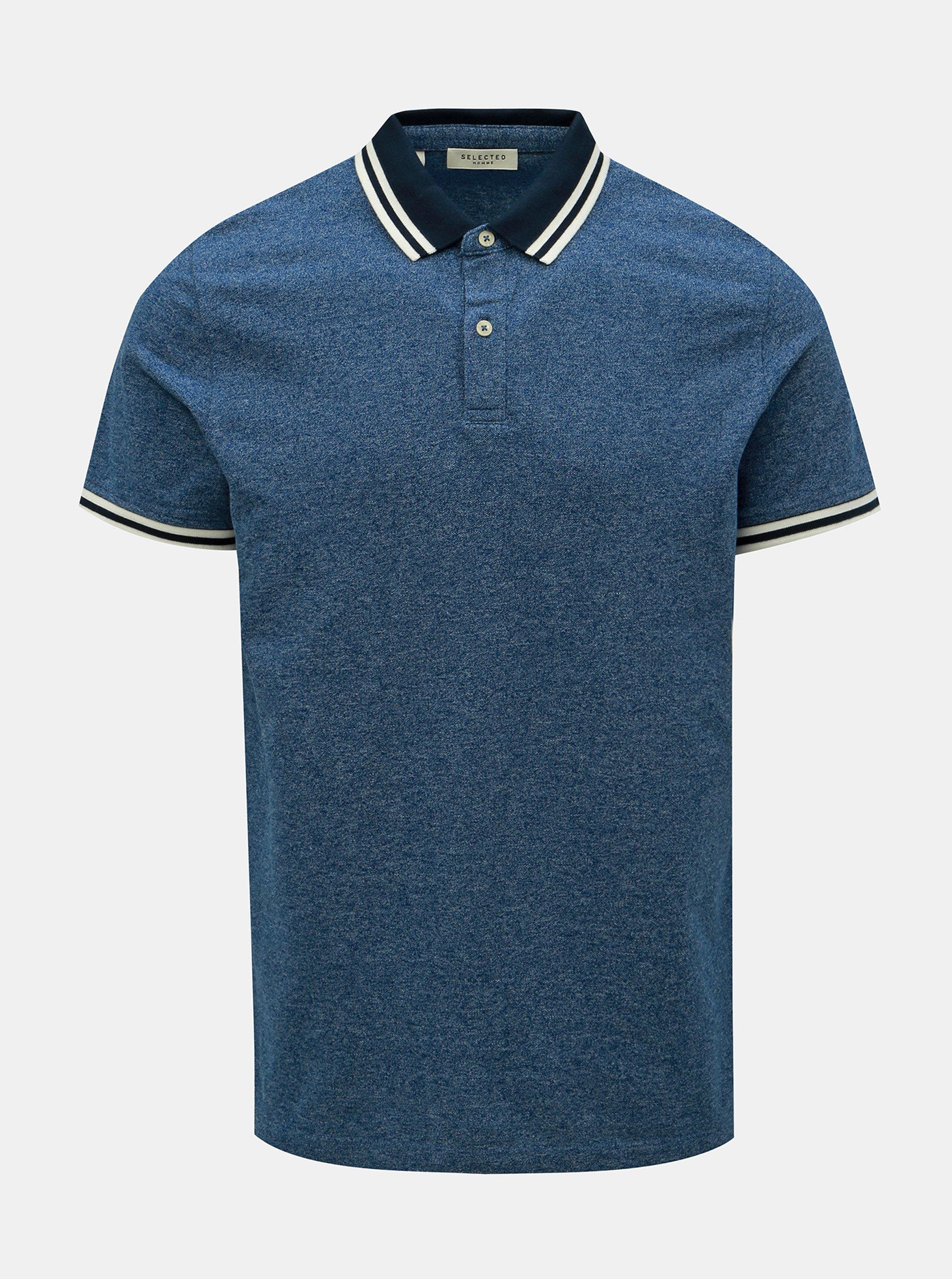 90b99c5b1822 Modré žíhané polo tričko Selected Homme Lau ...