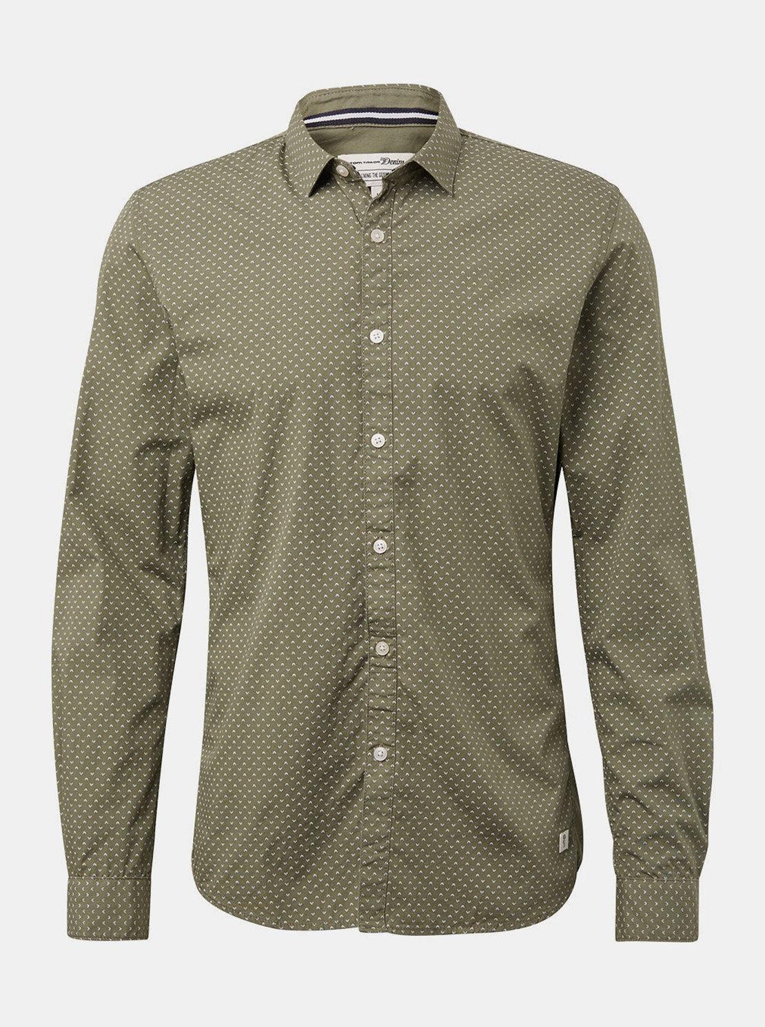 29271a294060 Khaki pánská vzorovaná košile Tom Tailor Denim ...