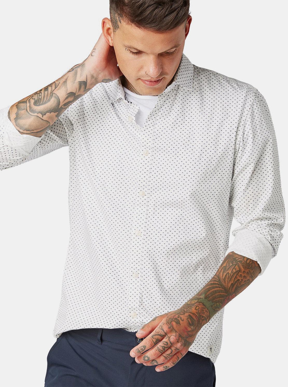 d2d537fd7851 Bílá pánská vzorovaná košile Tom Tailor Denim ...