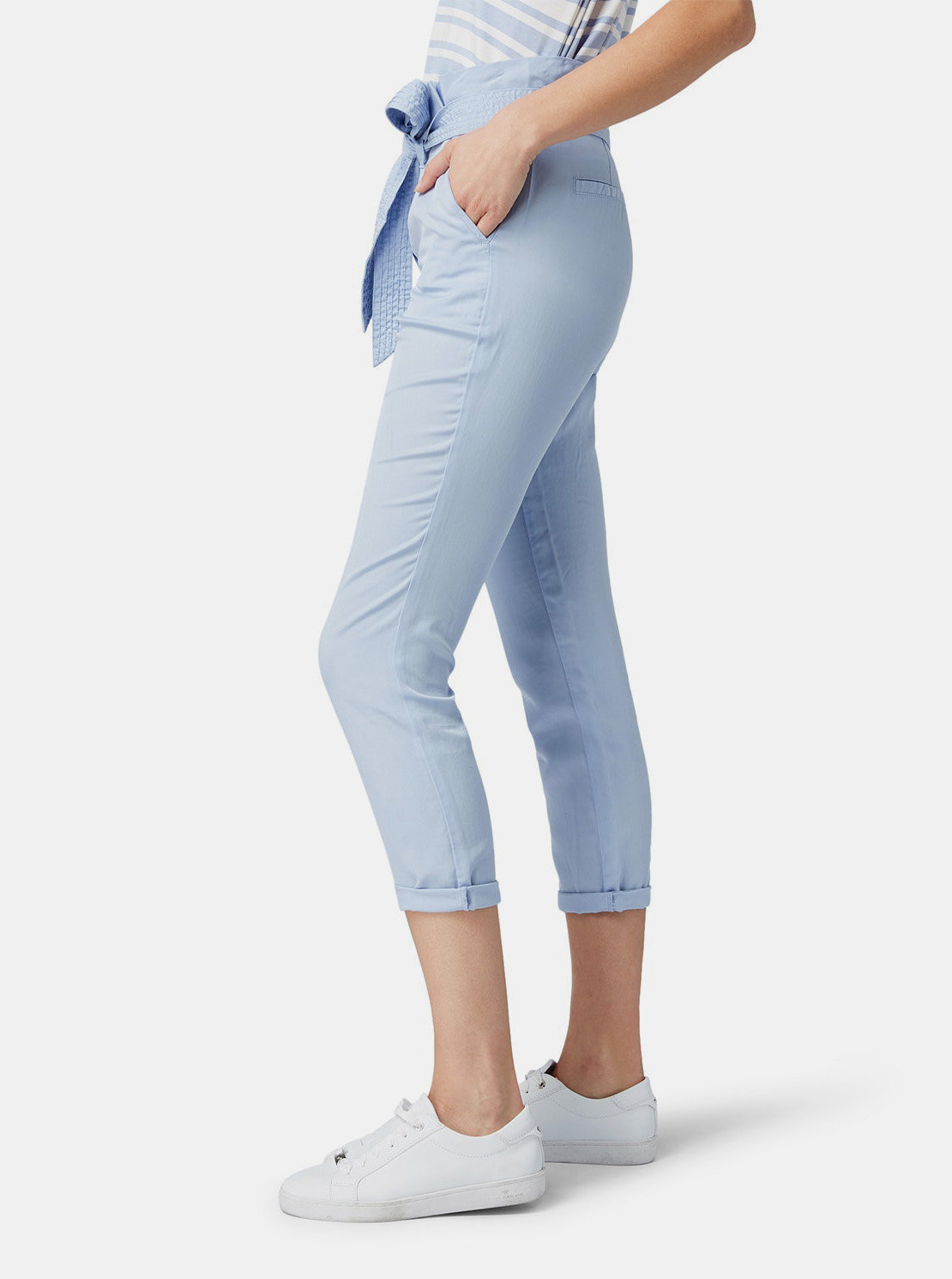 7579ac9a17de Modré dámske skrátené nohavice Tom Tailor ...