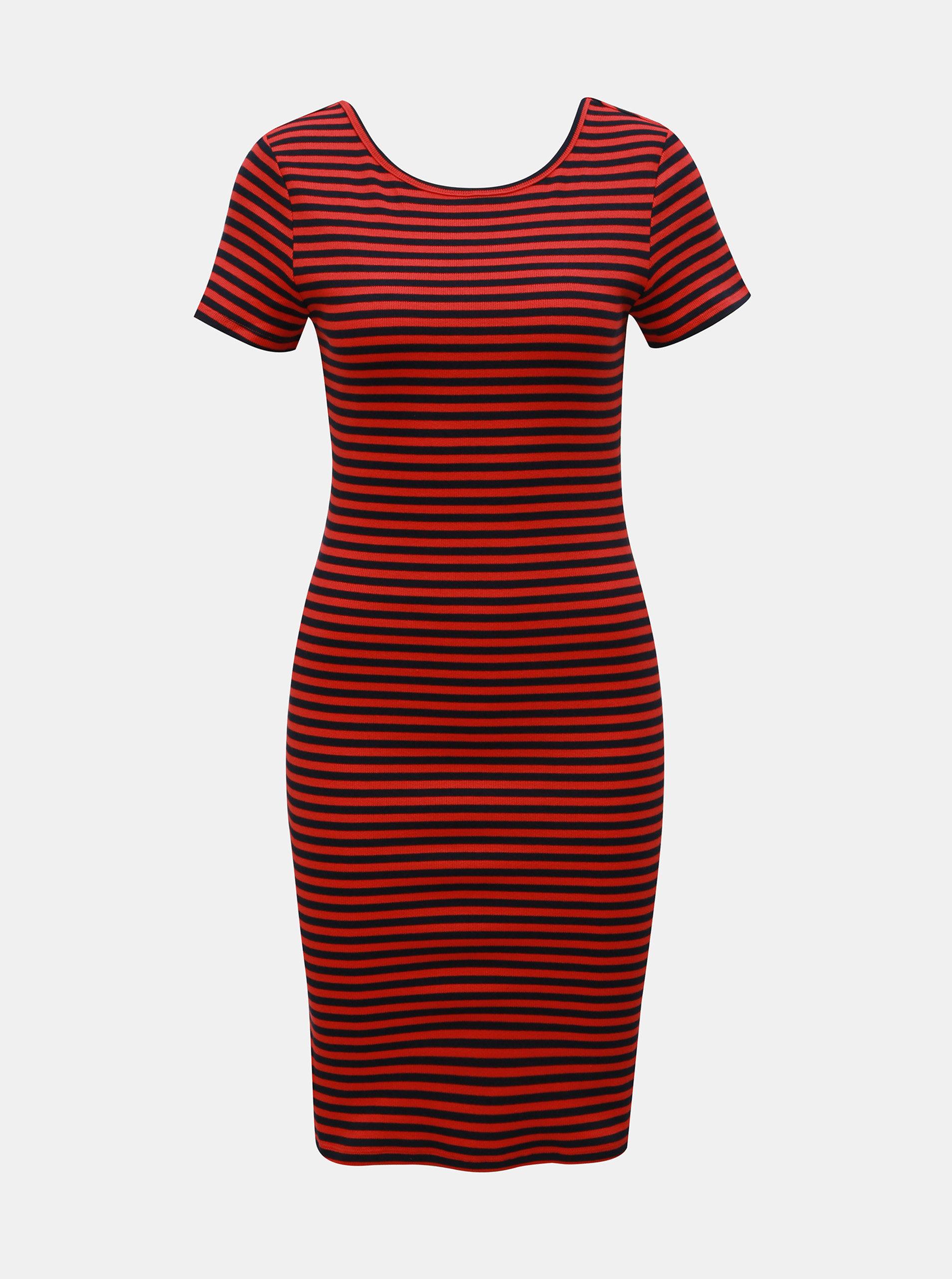 7a34e90a77e7 Modro–červené pruhované puzdrové šaty ONLY Bella ...