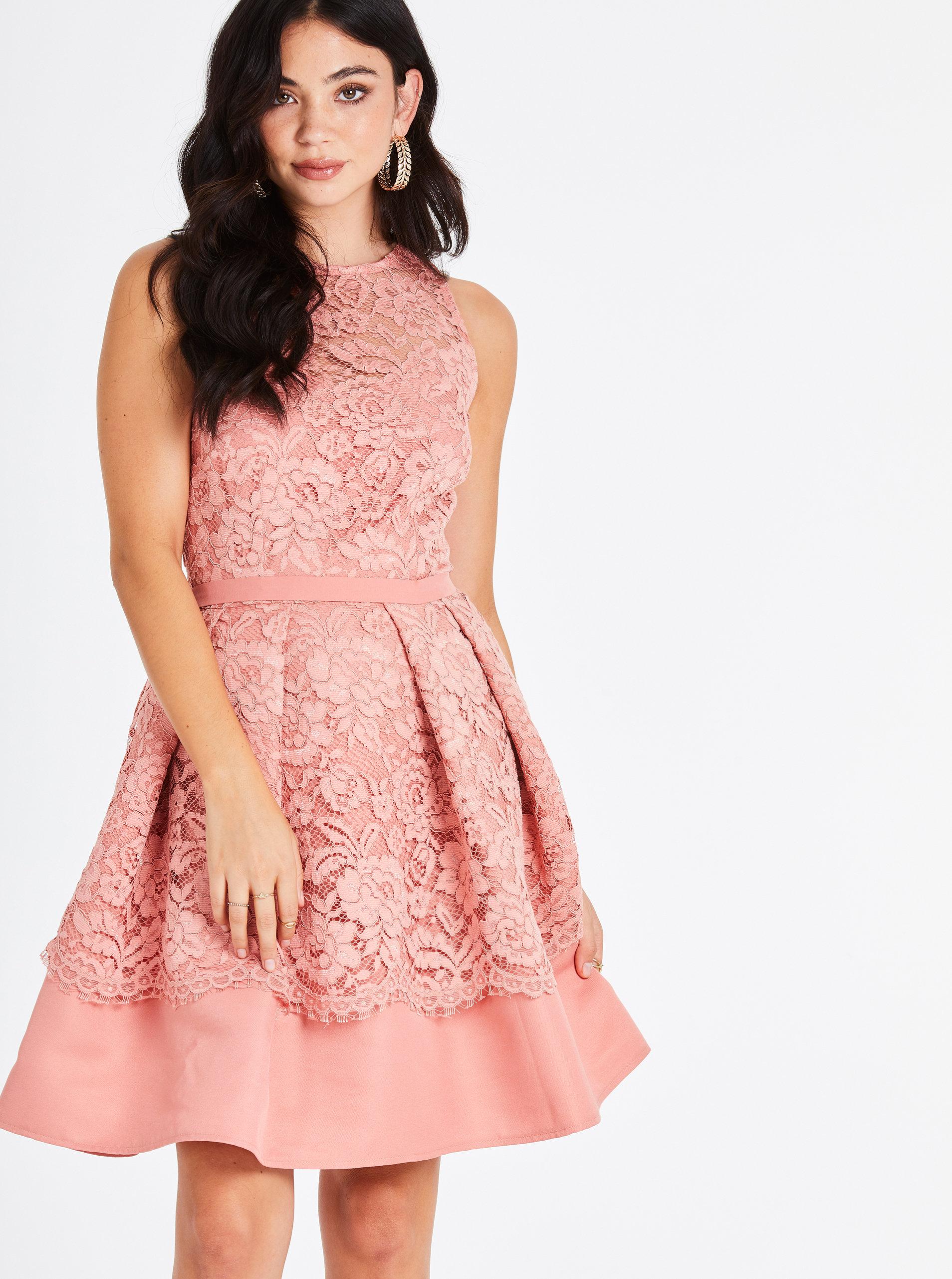 ddfc88980d80 Marhuľové čipkované šaty Little Mistress ...