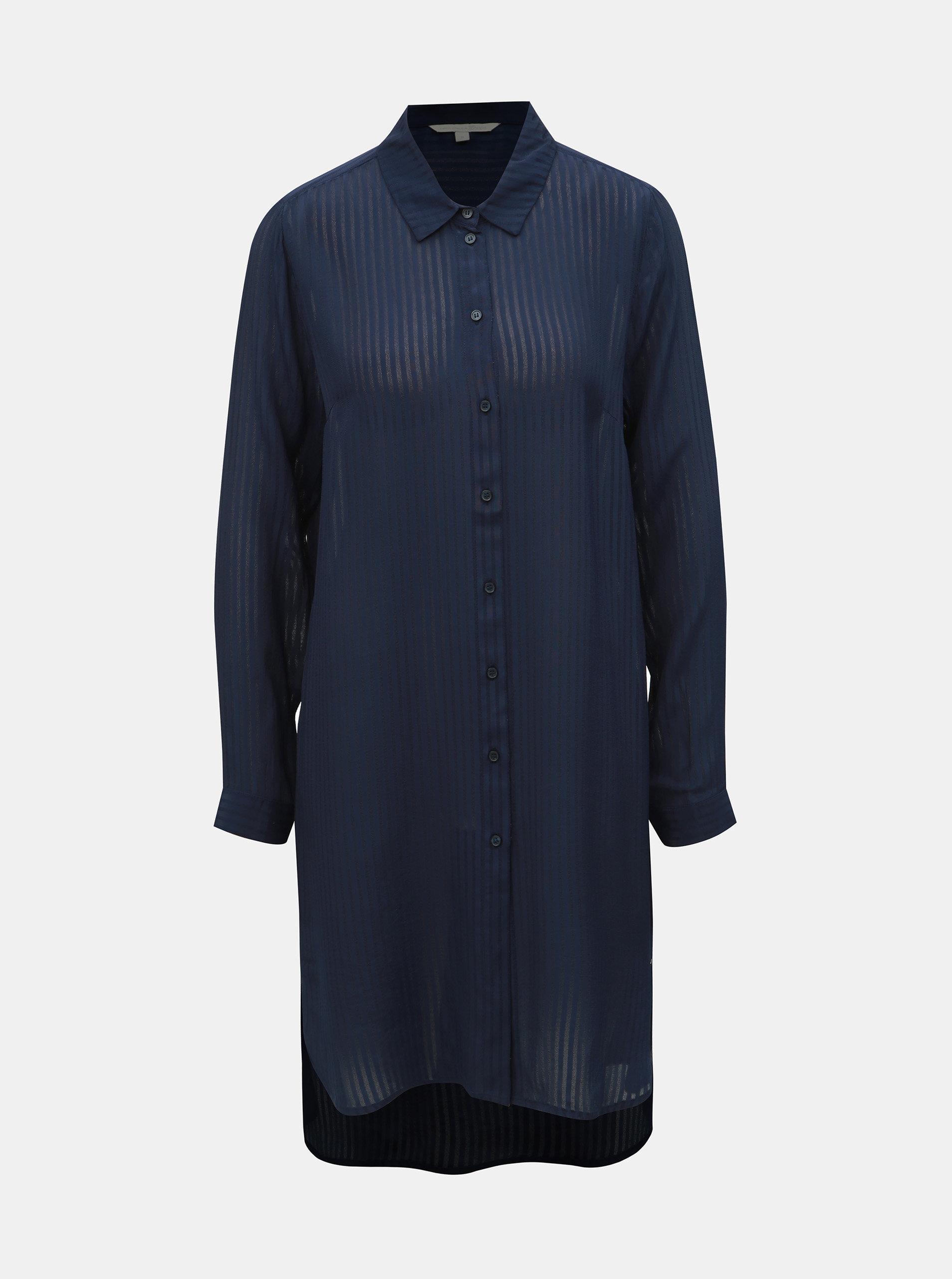 e421286558ac Tmavomodrá dámska pruhovaná dlhá košeľa Tom Tailor Denim ...