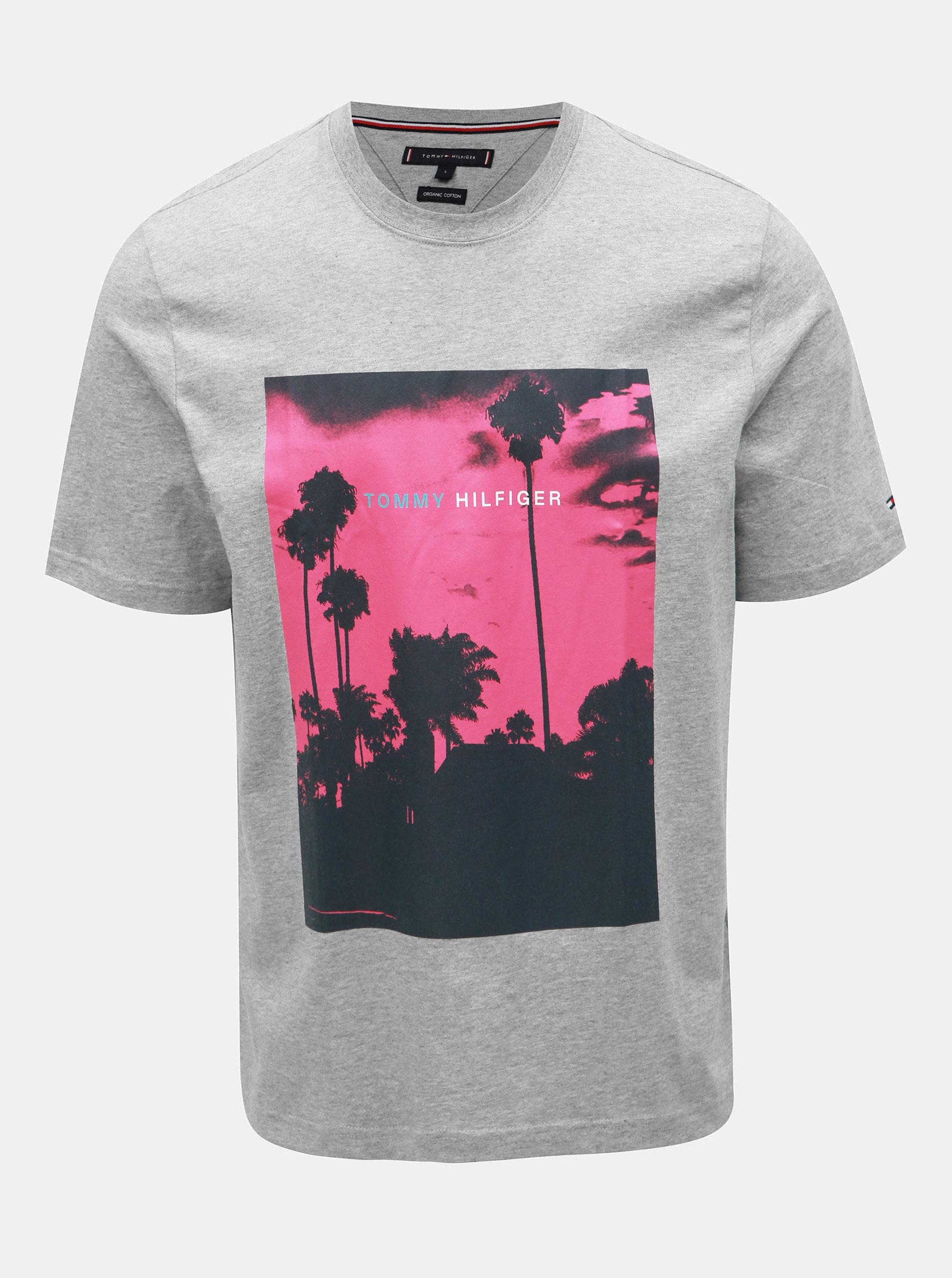 16fc7be66 Sivé pánske melírované tričko s potlačou Tommy Hilfiger Palm Photo ...