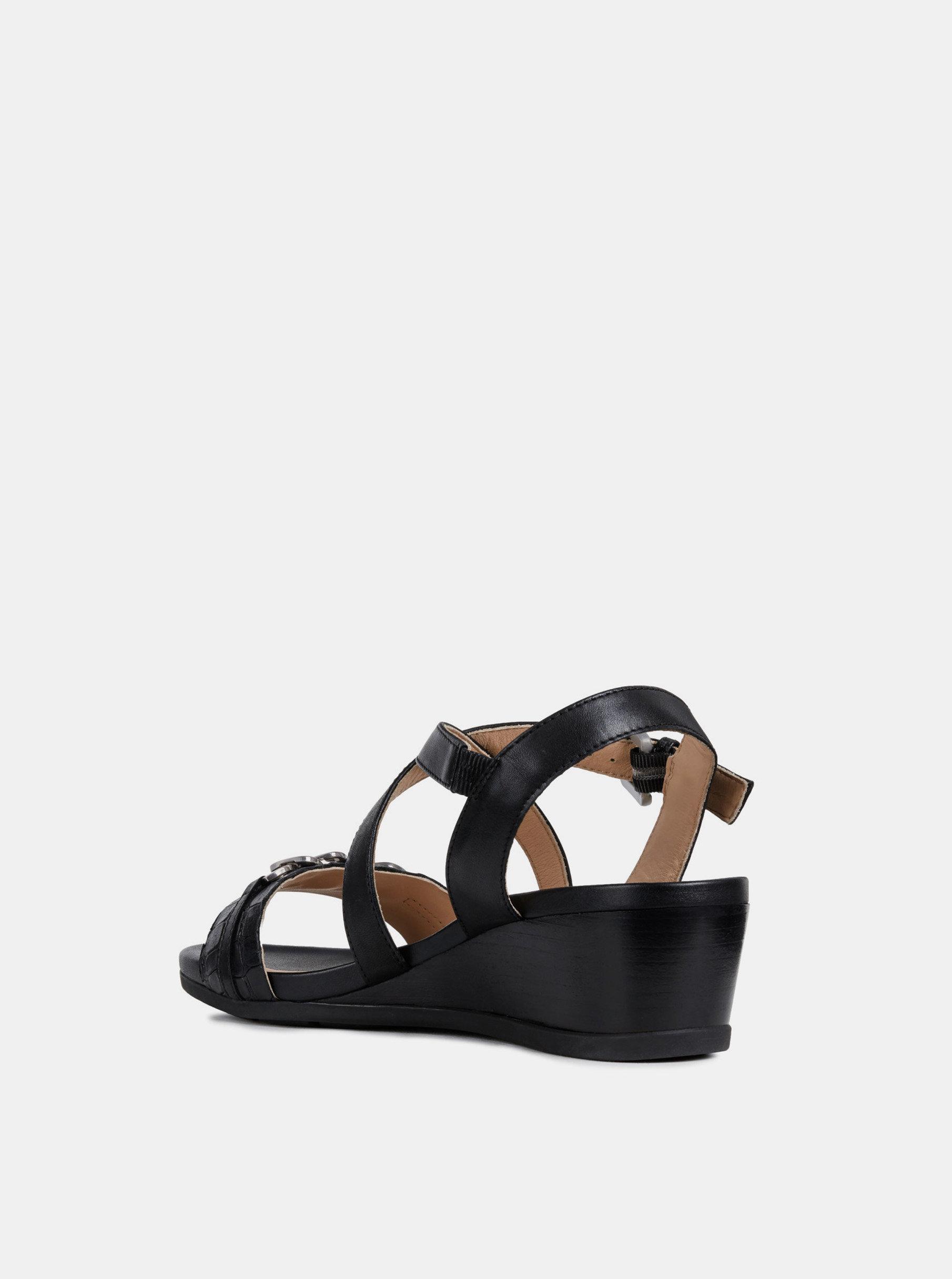 43c2fb40e Čierne dámske kožené sandále na plnom podpätku Geox Mary Karmen ...