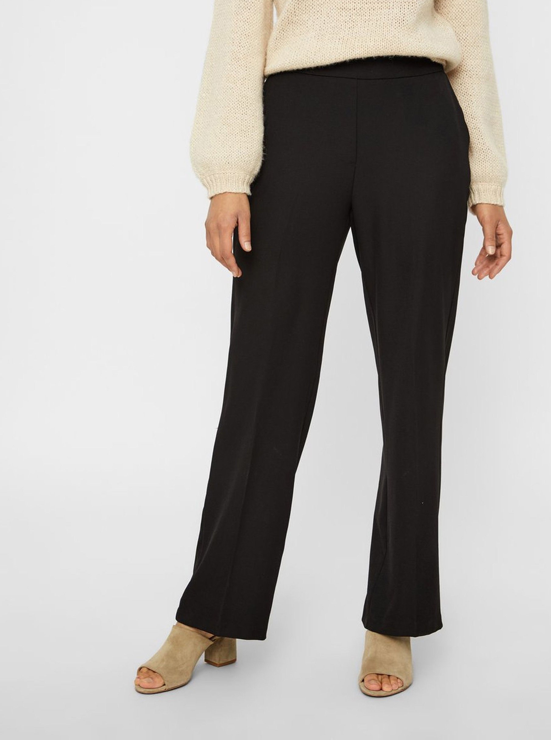 Černé kostýmové kalhoty s vysokým pasem AWARE by VERO MODA Gemma