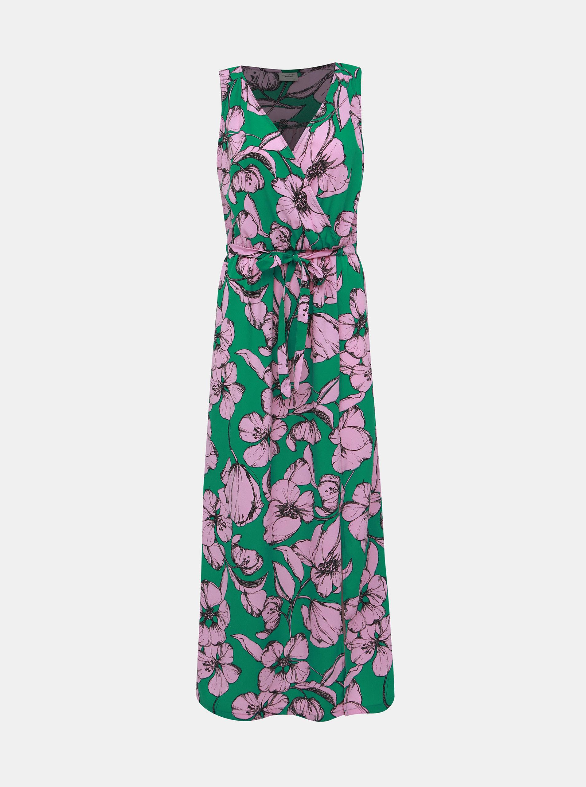 f147a62d46 Rúžovo-zelené kvetované maxišaty Jacqueline de Yong Kamma ...