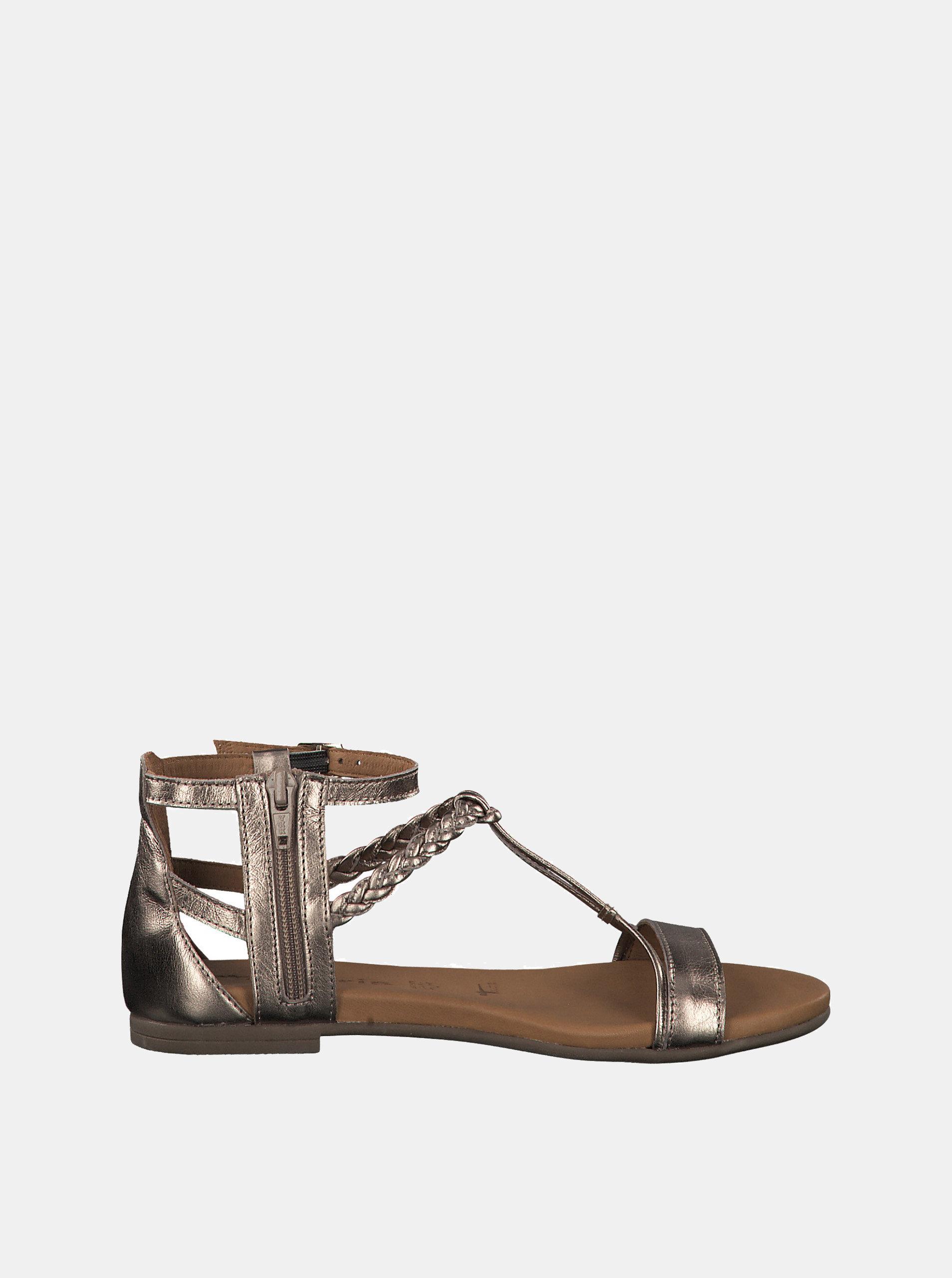182a803155 Hnedé metalické kožené sandále Tamaris ...